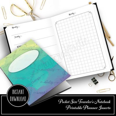 Full Month Notebook: Daily Pocket Size with MO2P, WO1P Horizontal and DO1P Daily Grid Pages Printable