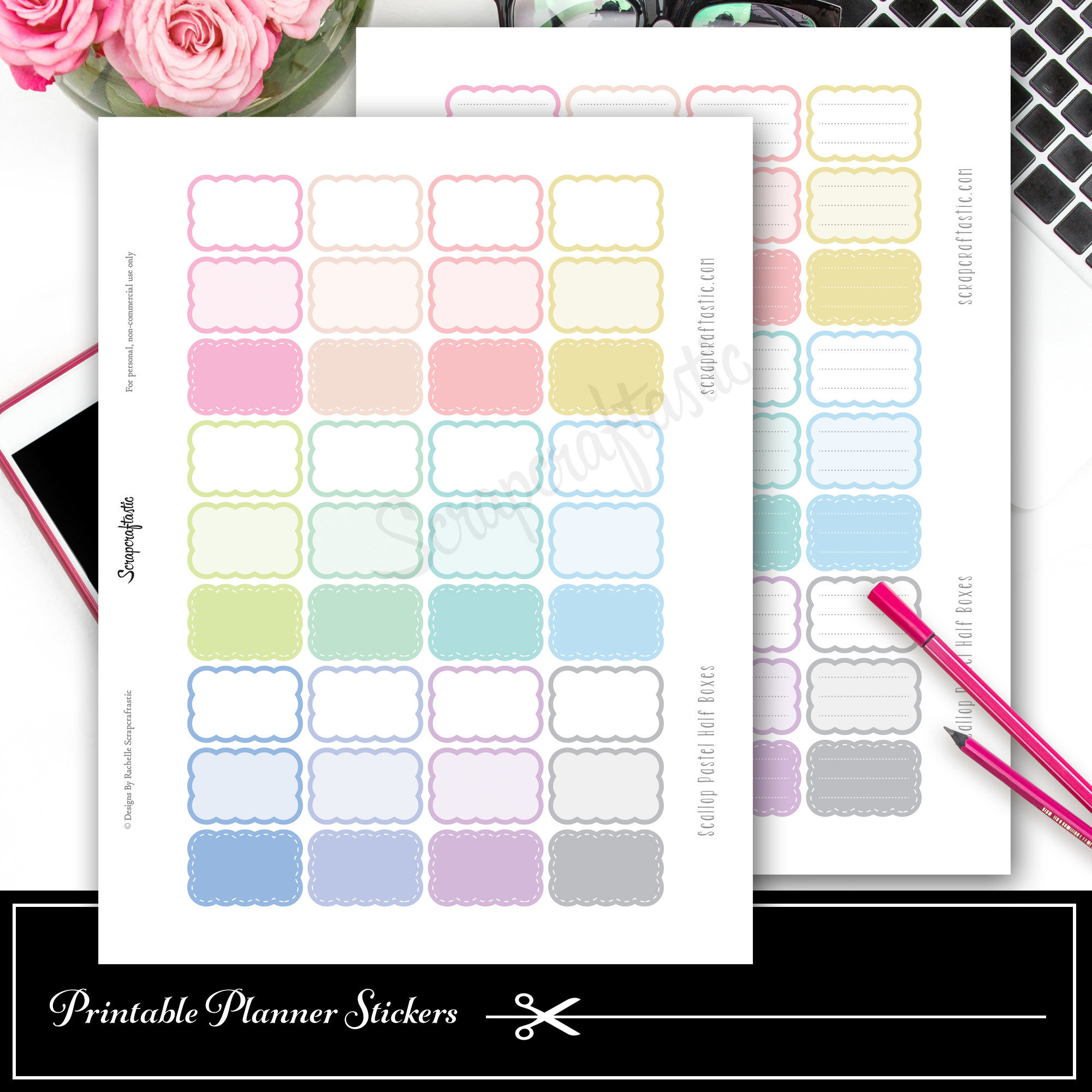 Scallop Pastel Variety Half Box Printable Planner Stickers and Silhouette Cut File 03009