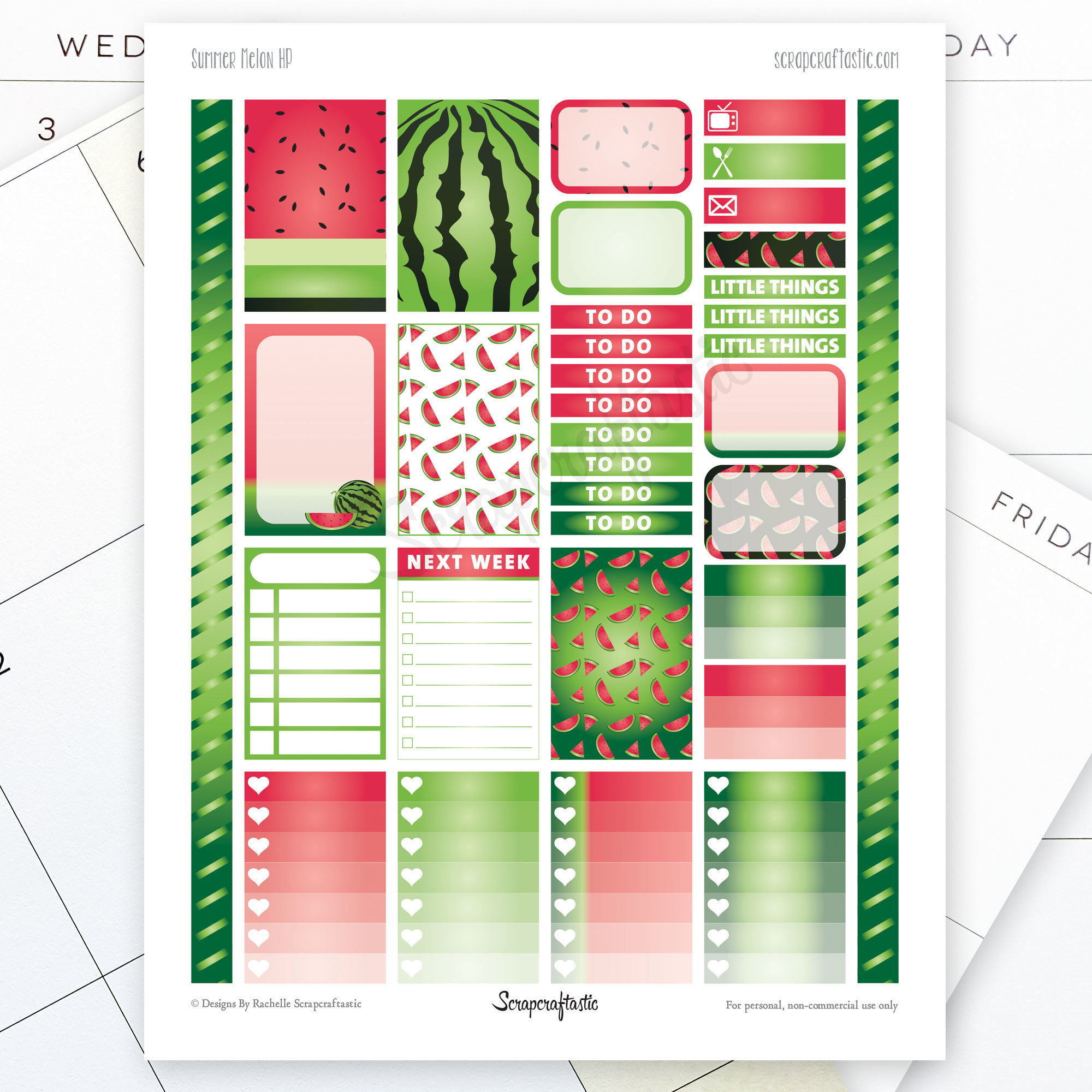 Summer Melon Printable Planner Stickers for the Classic MAMBI Happy Planner 04117