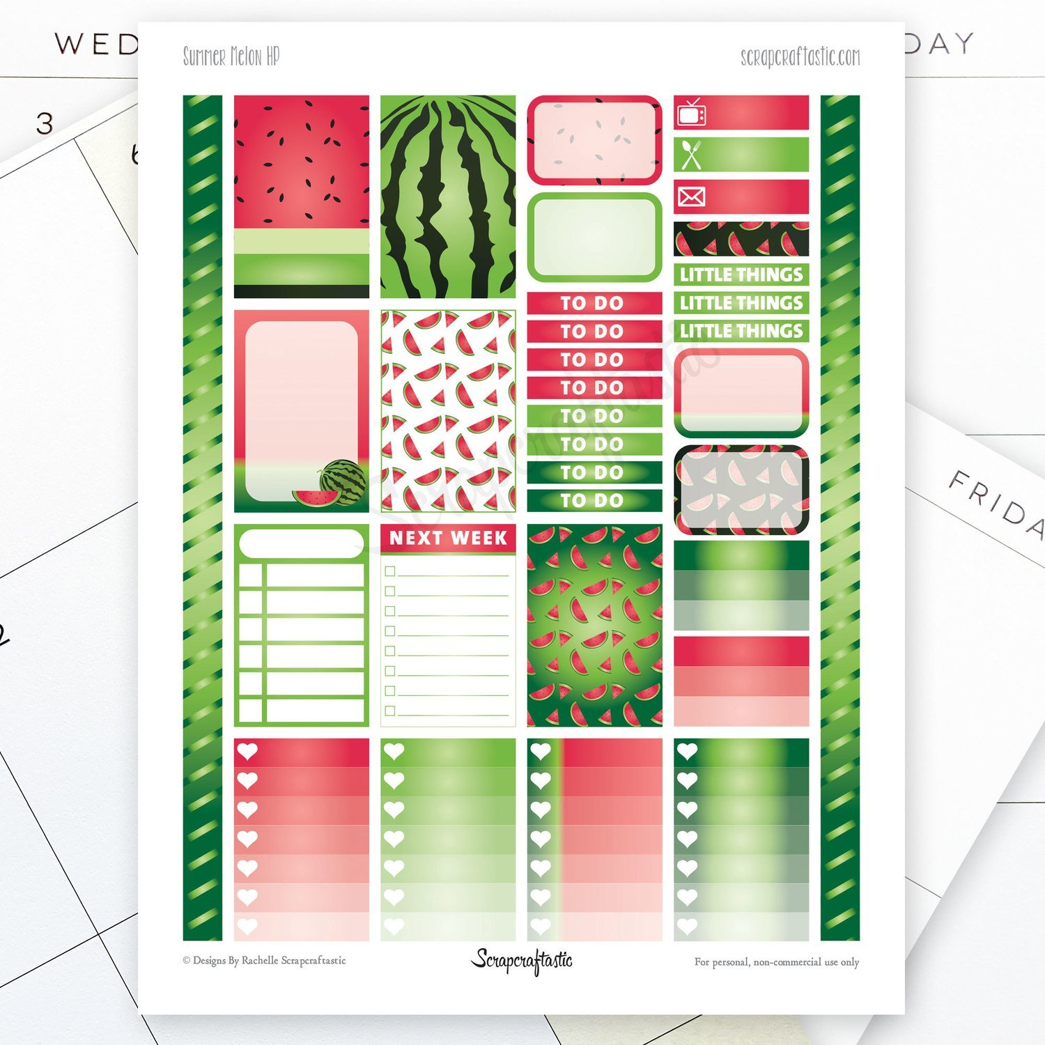 Summer Melon Printable Planner Stickers for the Classic MAMBI Happy Planner