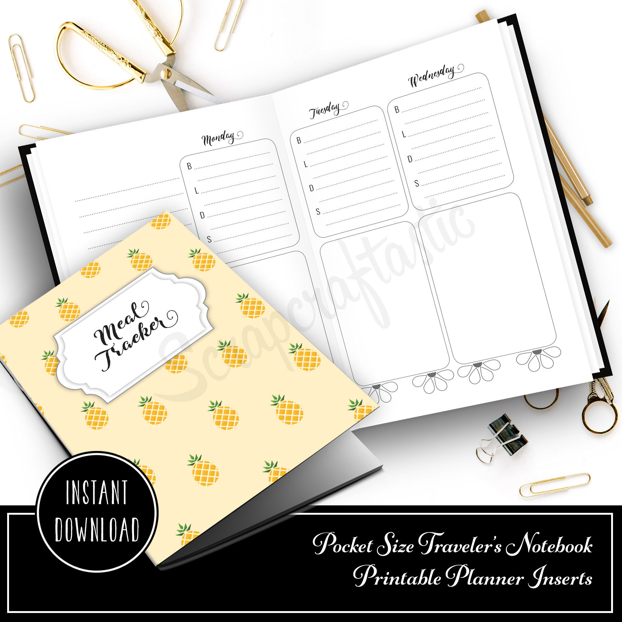 Meal Tracker Notebook:  Pocket Size Printable Traveler's Notebook with WO4P and Grocery Checklist with grid pages 10006
