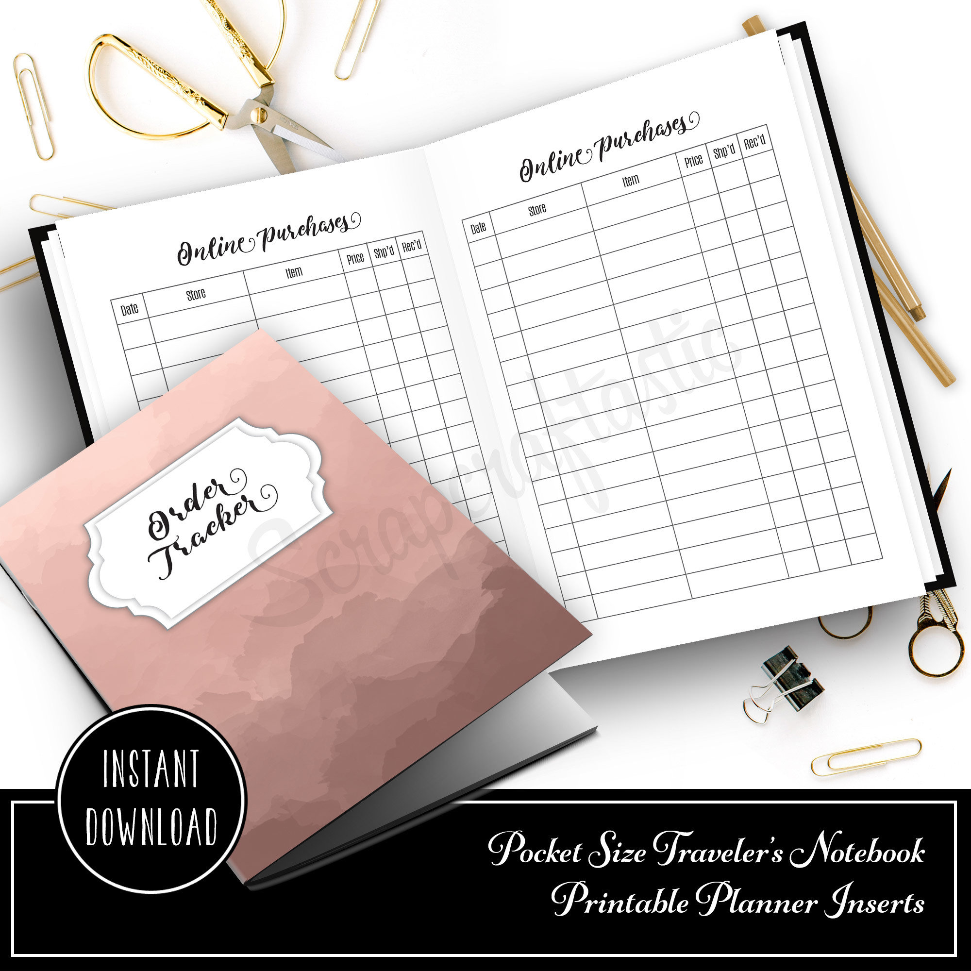 Online Purchase/Order Tracker Pocket Size Traveler's Notebook Printable Planner Inserts 10007