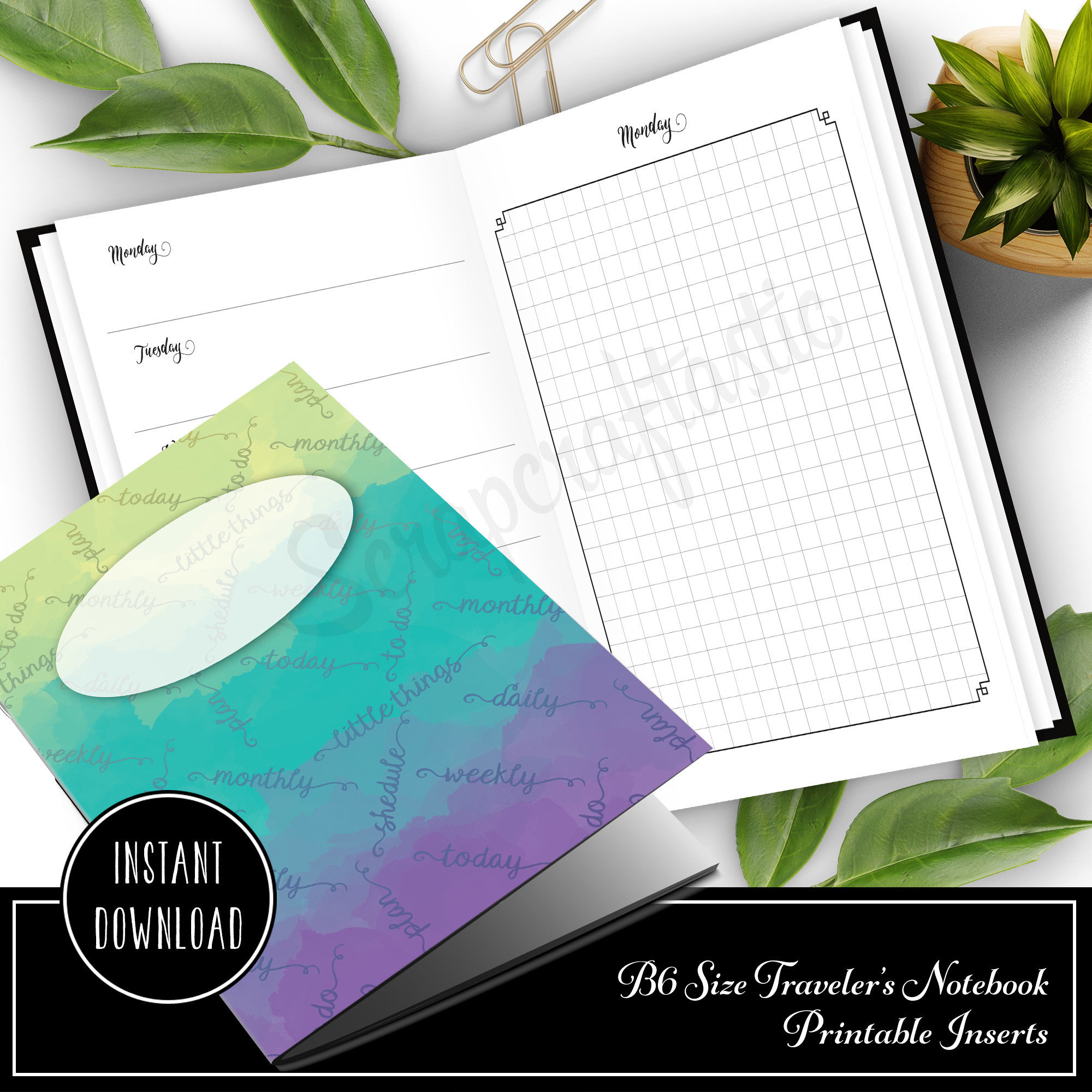 Full Month Notebook: Daily B6 Size with MO2P, WO1P Horizontal and DO1P Daily Grid Pages Printable 50004