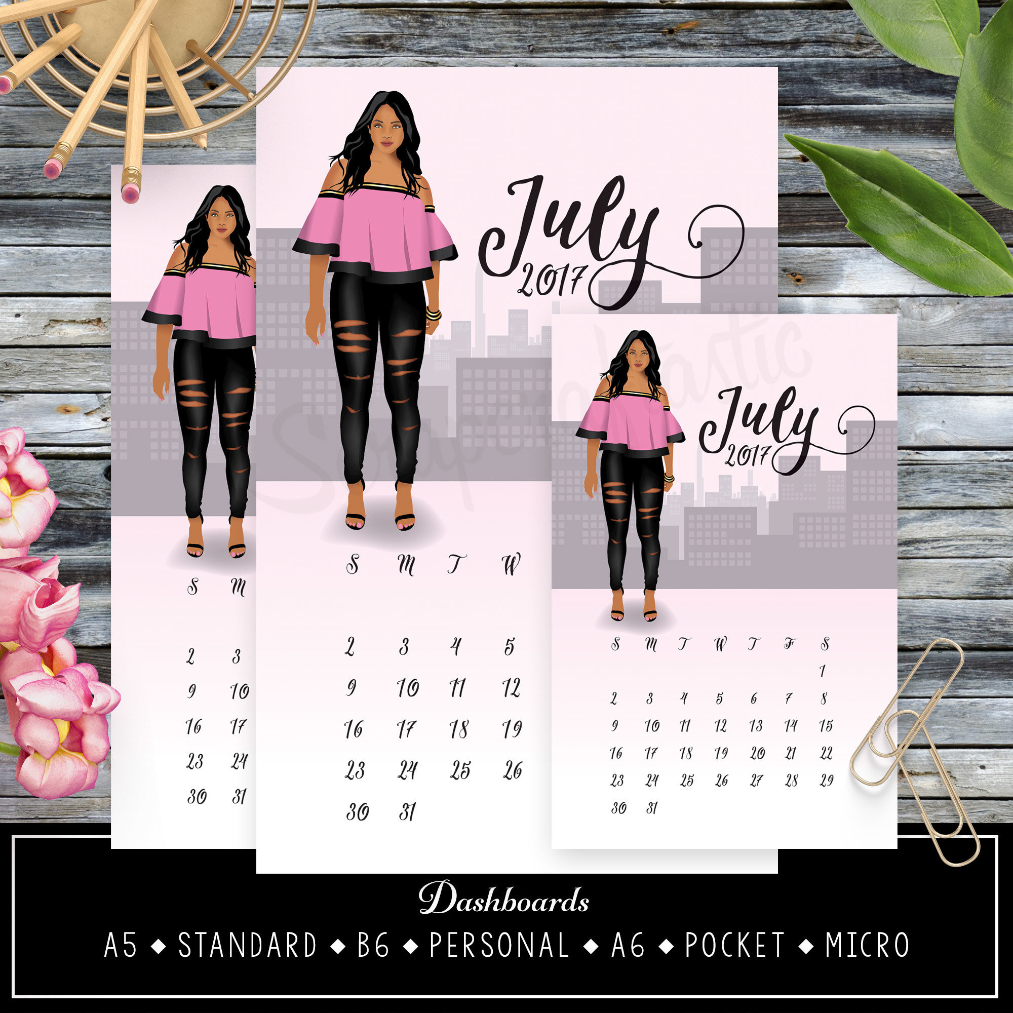July 2017 Printable Dashboards featuring June Rose 90005