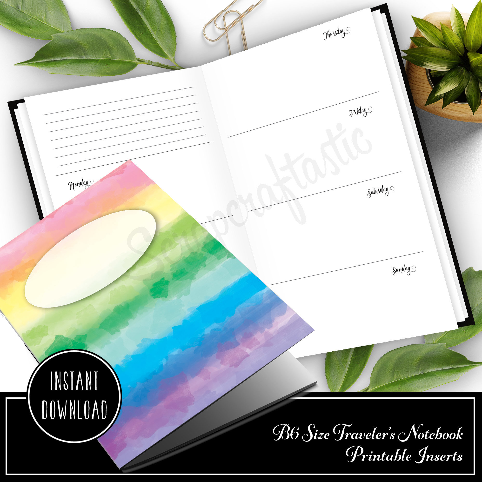 Horizontal Week on Two Pages (WO2P) B6 Traveler's Notebook Printable Inserts 50006