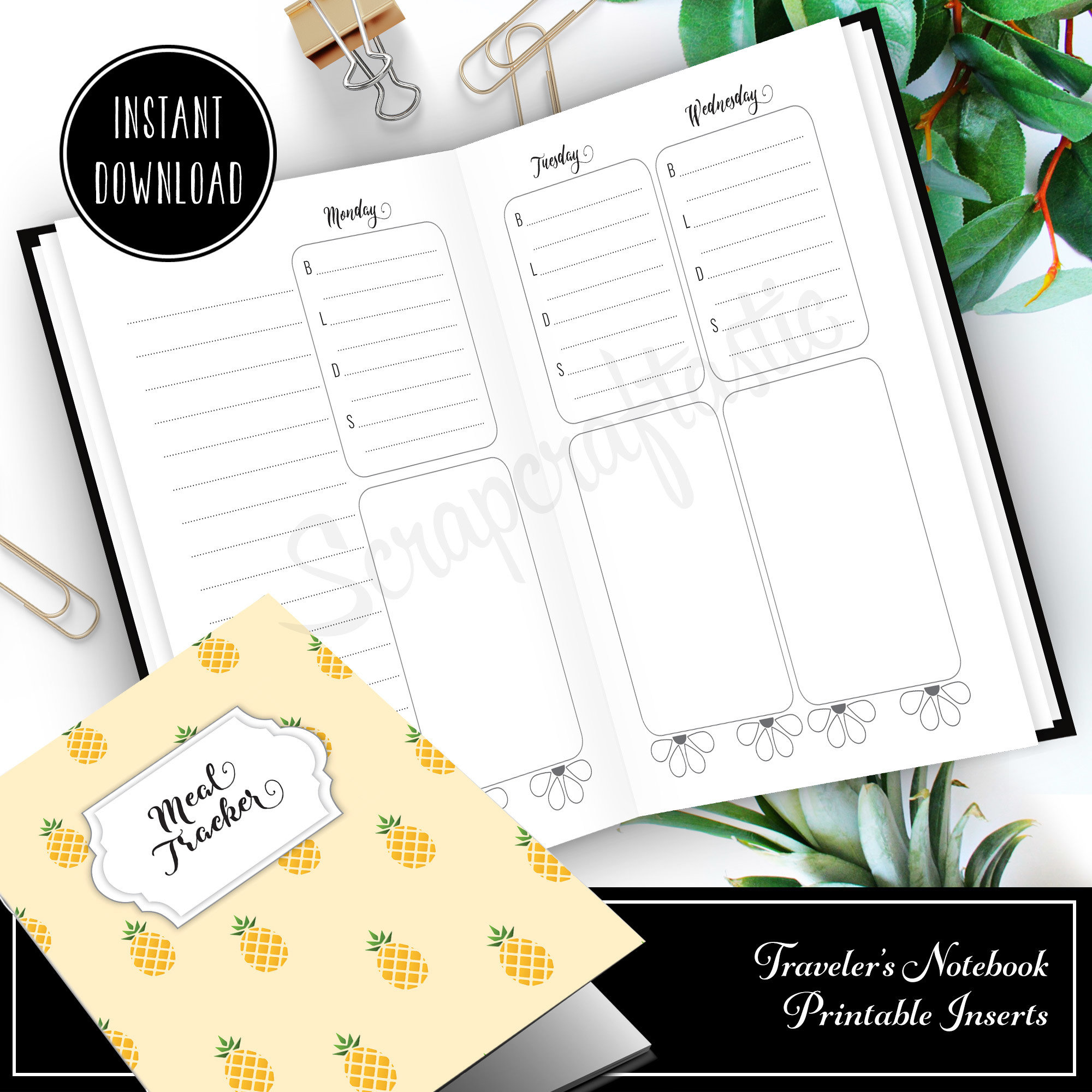 Meal Tracker Notebook:  B6 Printable Traveler's Notebook with WO4P and Grocery Checklist with grid pages 50002