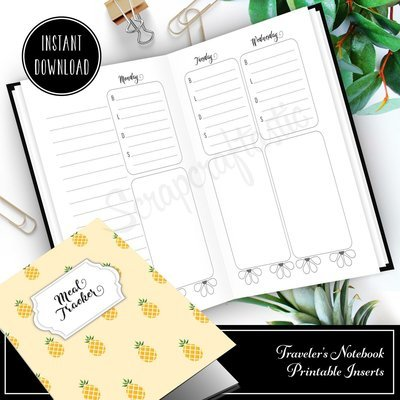 Meal Tracker Notebook:  B6 Printable Traveler's Notebook with WO4P and Grocery Checklist with grid pages
