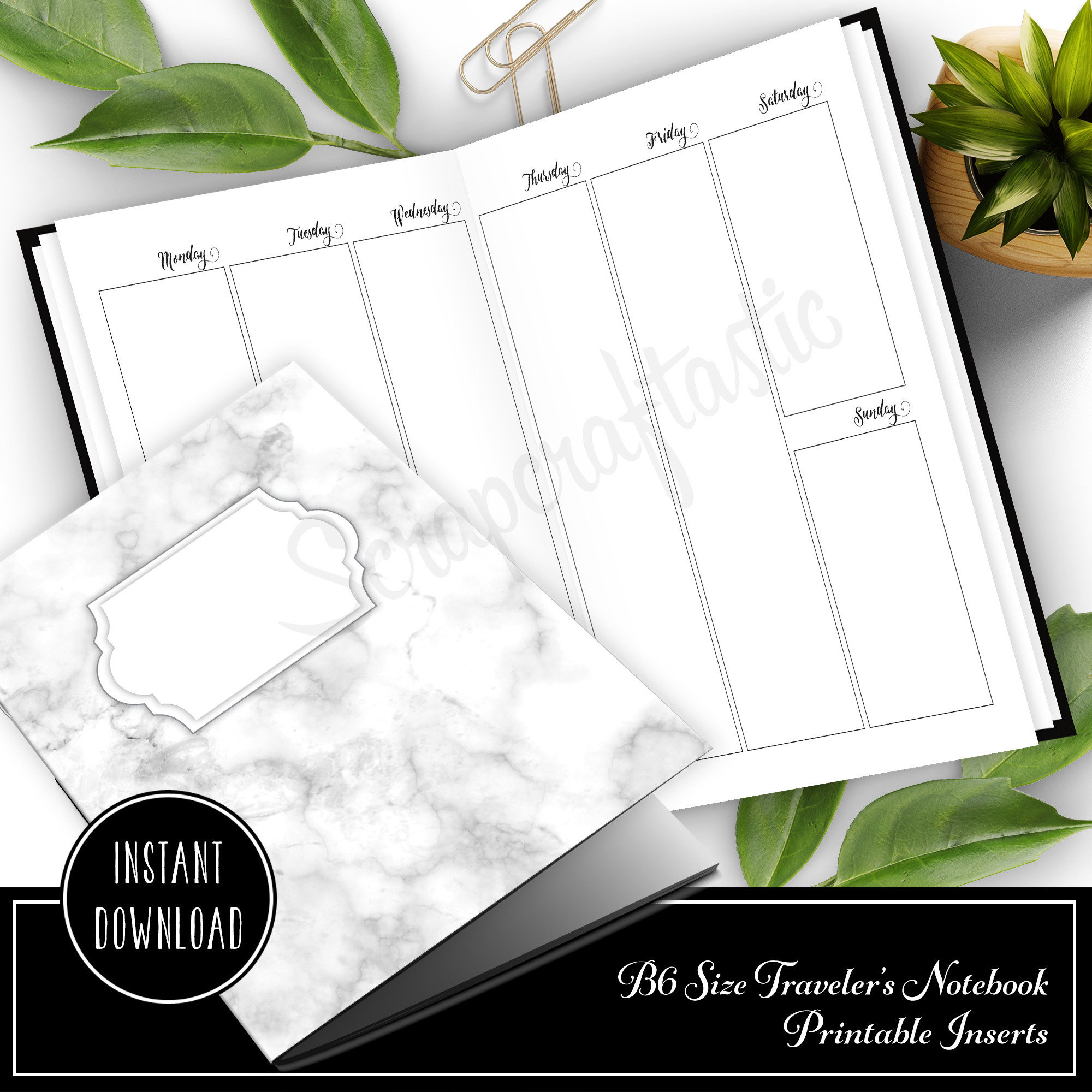 SPANISH Vertical Week on Two Pages (WO2P) B6 Traveler's Notebook Printable Inserts 50028