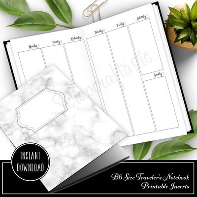 SPANISH Vertical Week on Two Pages (WO2P) B6 Traveler's Notebook Printable Inserts
