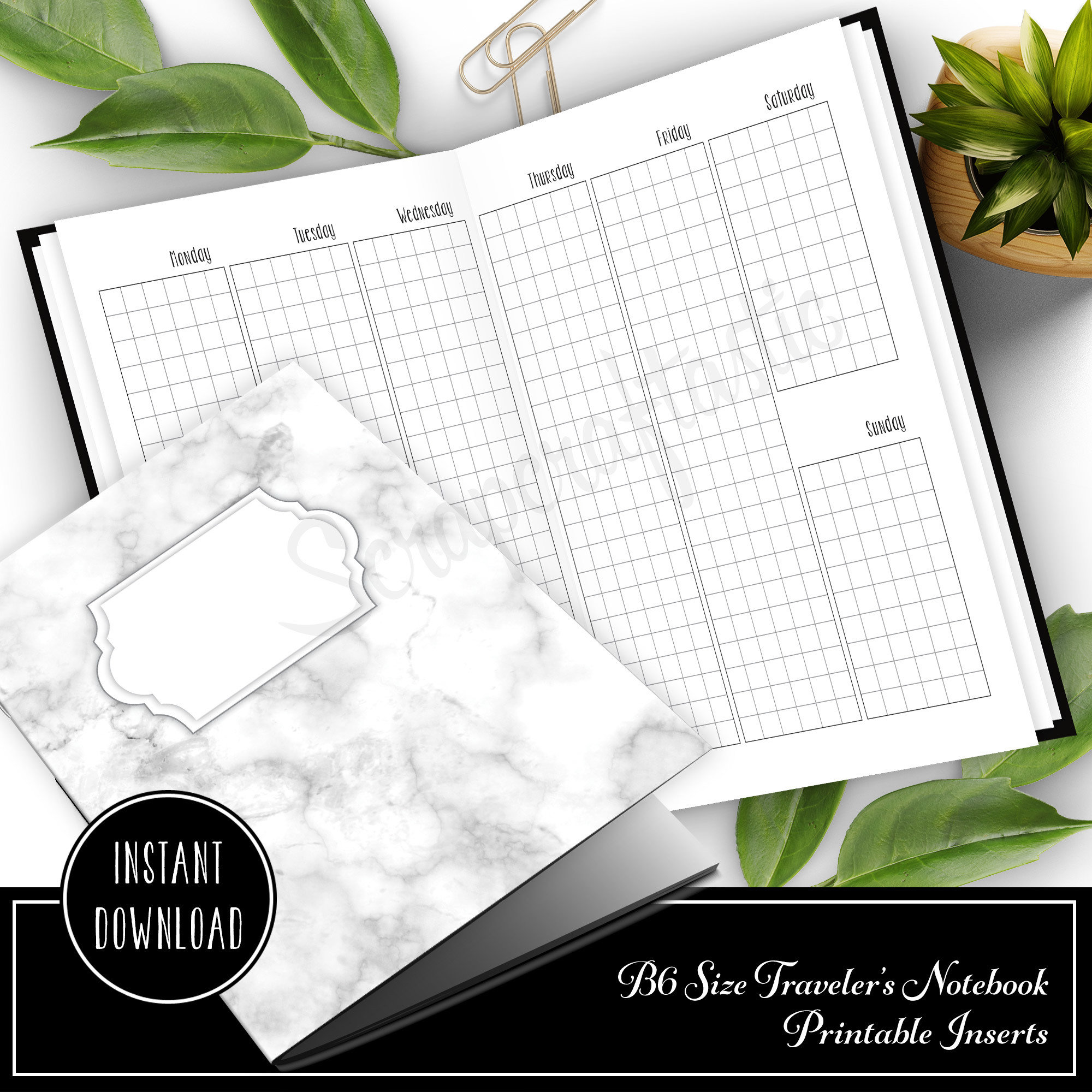Vertical Grid Week on Two Pages (WO2P) B6 Traveler's Notebook Printable Inserts 50008