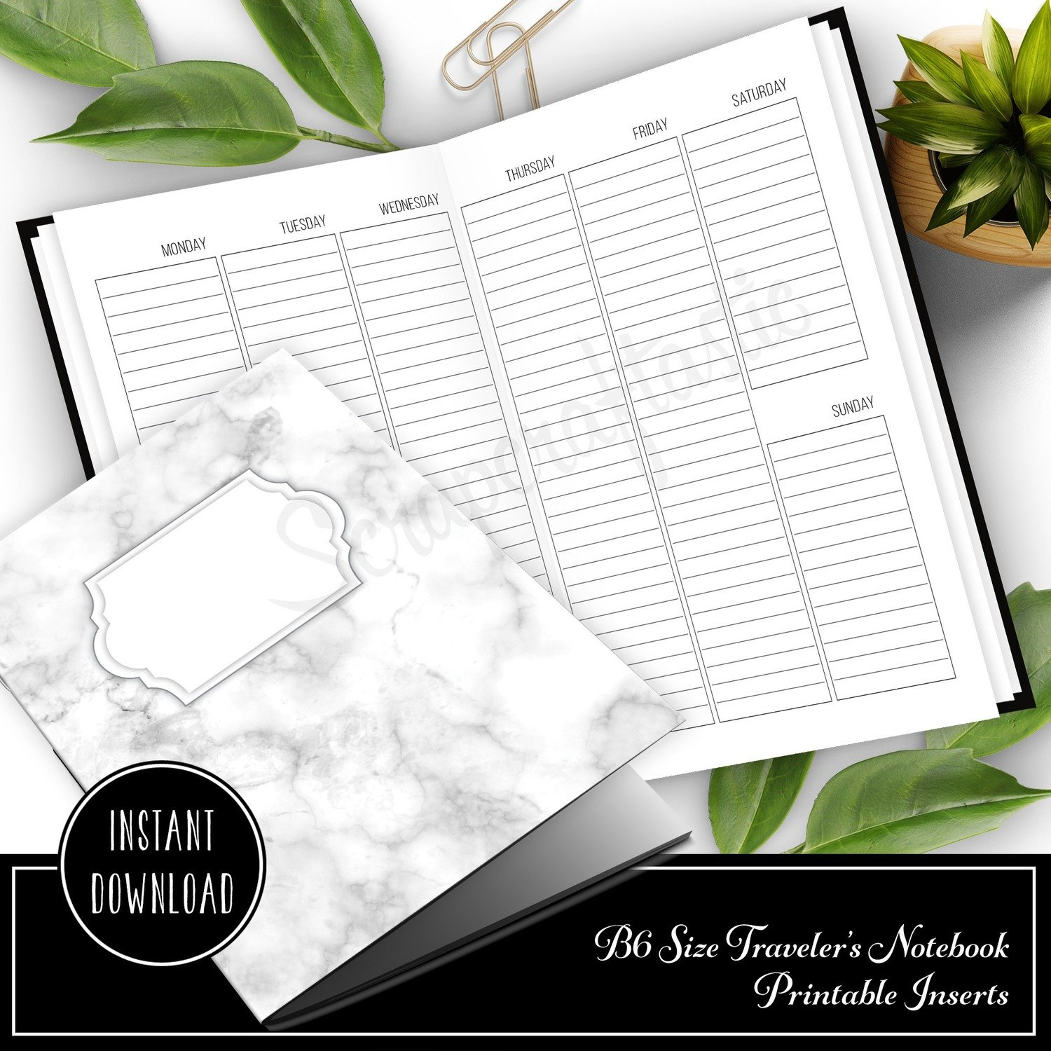 Vertical Lined Week on Two Pages (WO2P) B6 Traveler's Notebook Printable Inserts