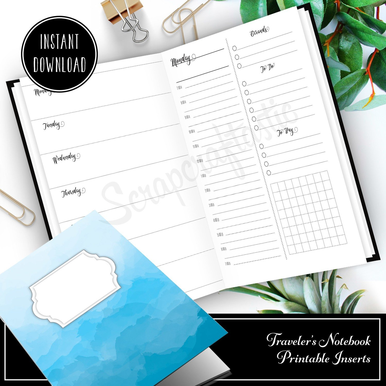 Full Month Notebook: Extended Daily Personal Size Printable Traveler's Notebook Insert with MO2P, WO1P Horizontal and DO1P Daily Schedule Pages