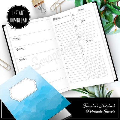 Full Month Notebook: Extended Daily B6 Printable Traveler's Notebook Insert with MO2P, WO1P Horizontal and DO1P Daily Schedule Pages