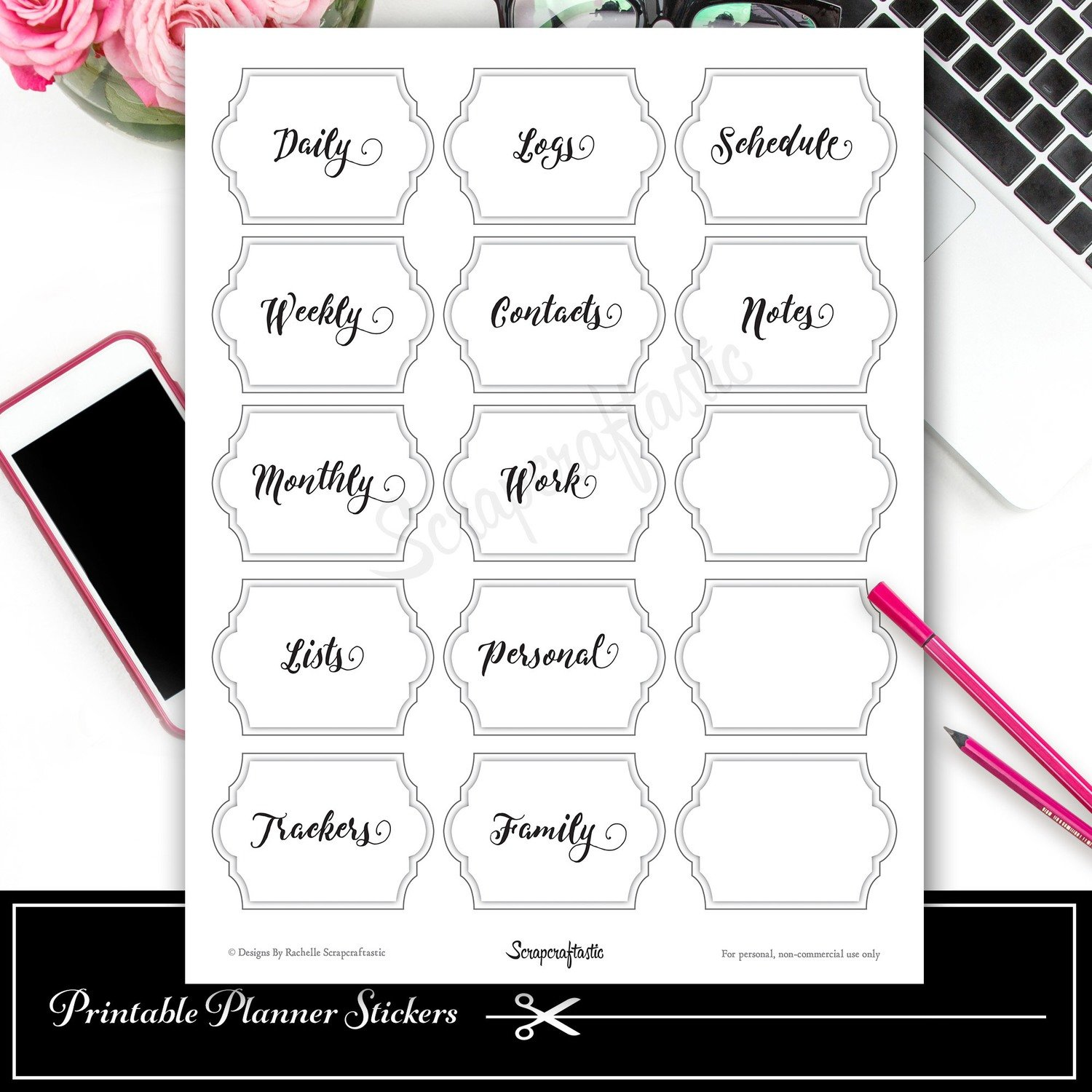 Signature Label Set #1 Printable Planner Stickers and Silhouette Cut File