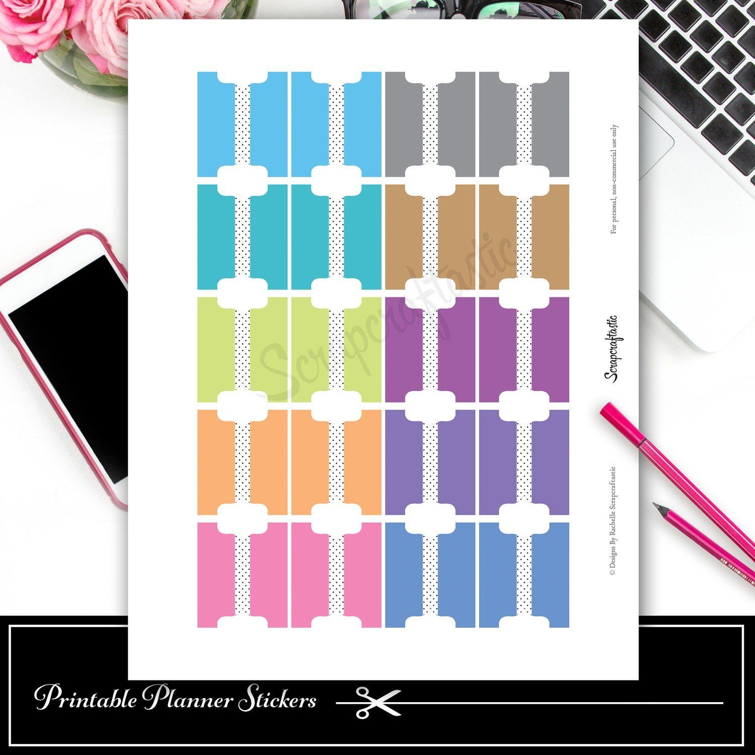 Tab Brights Printable and Silhouette Cut File