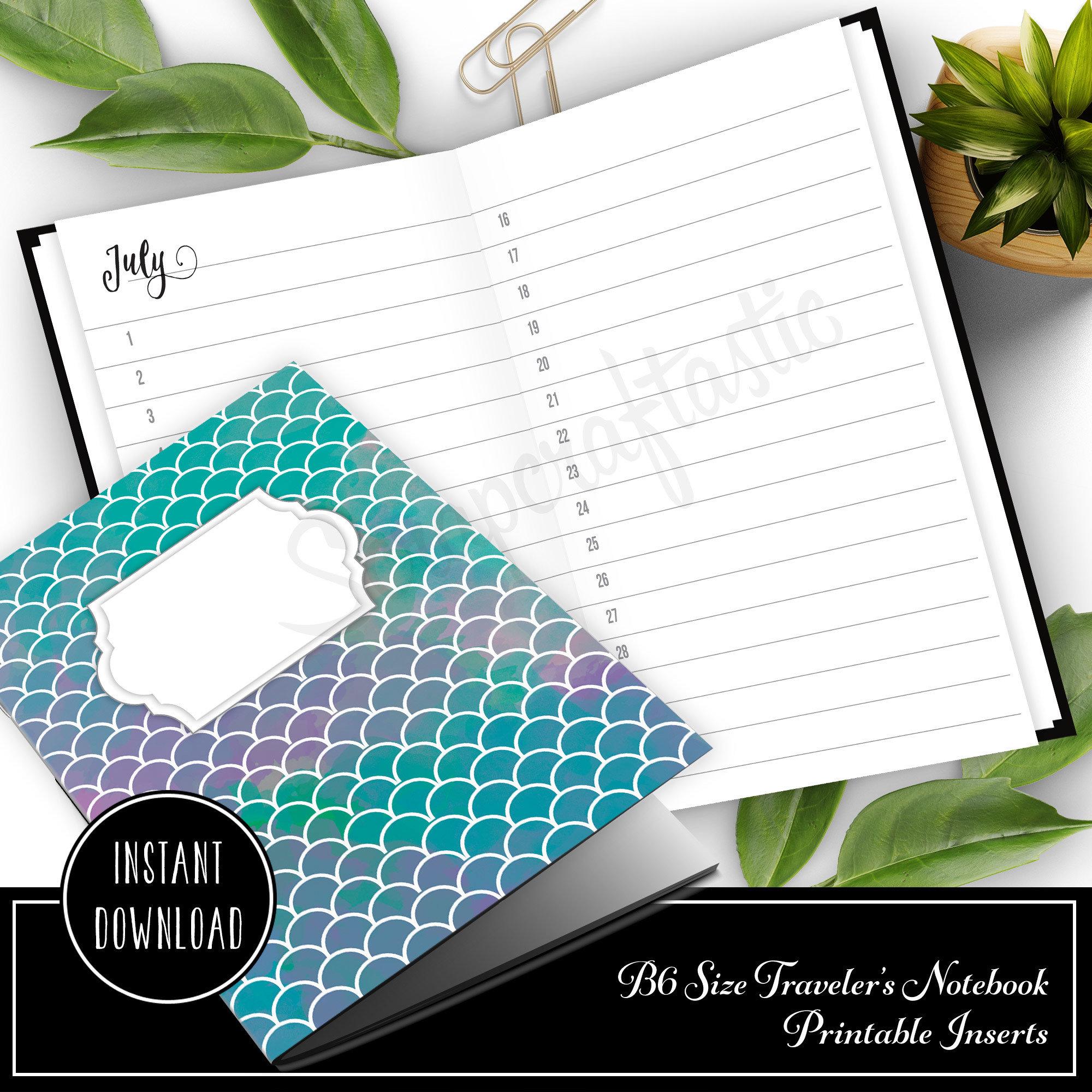 Full Year Notebook: Horizontal Month List B6 Printable Traveler's Notebook Insert 50012
