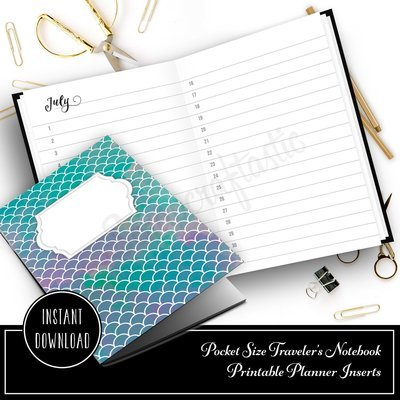 Full Year Notebook: Horizontal Month List Pocket Size Printable Traveler's Notebook Insert