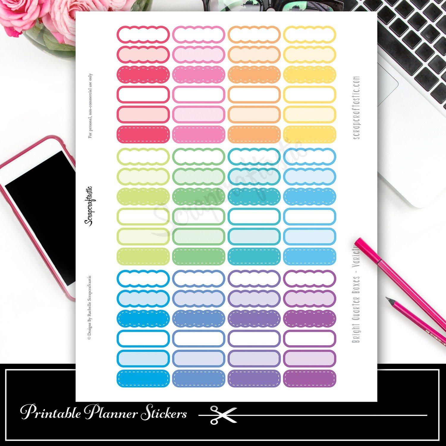 Scallop Brights Variety Quarter Box Printable Planner Stickers and Silhouette Cut File