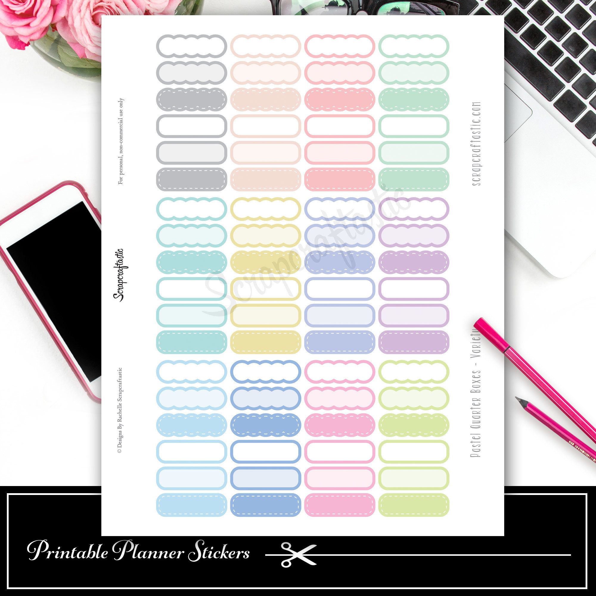 Scallop Pastel Variety Quarter Box Printable Planner Stickers and Silhouette Cut File 03010