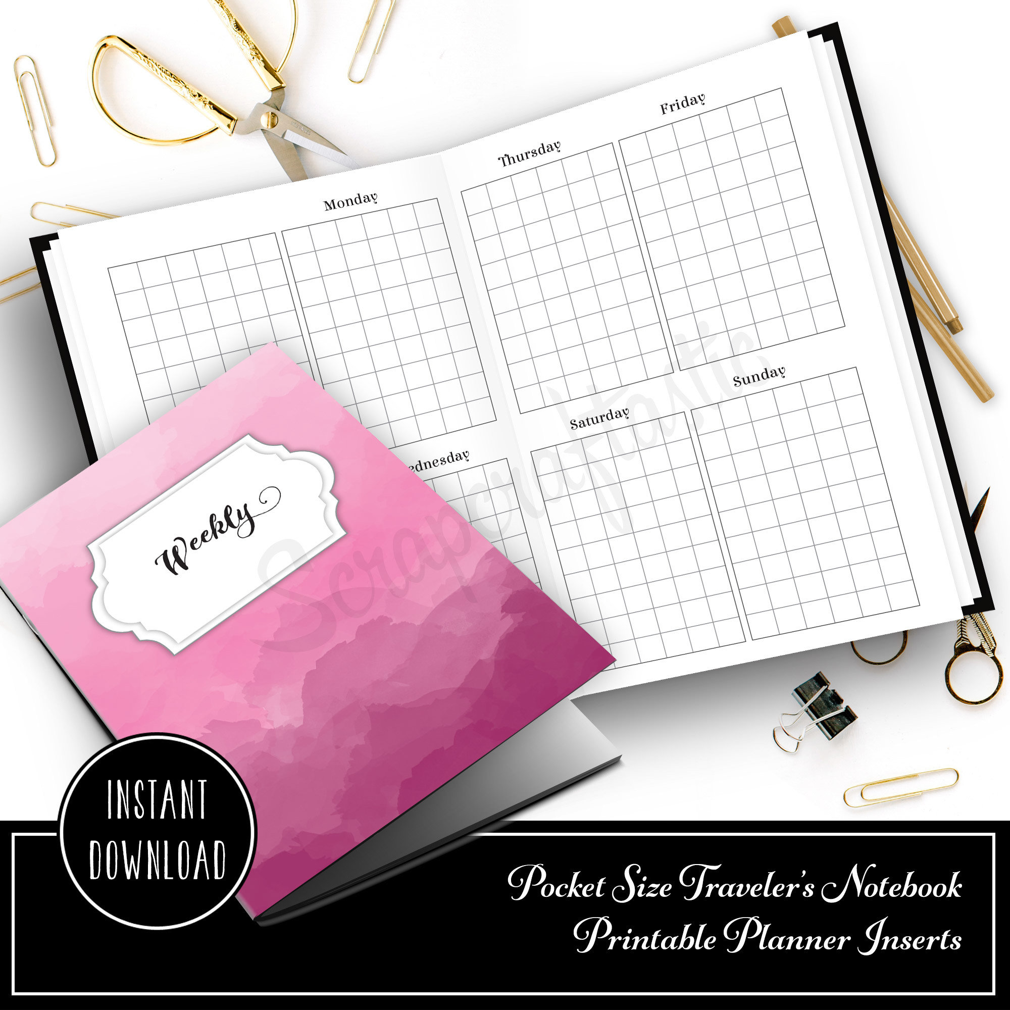 Full Month Notebook: Week on Two Pages Vertical Grid Undated Pocket Traveler's Notebook Printable Insert 10015
