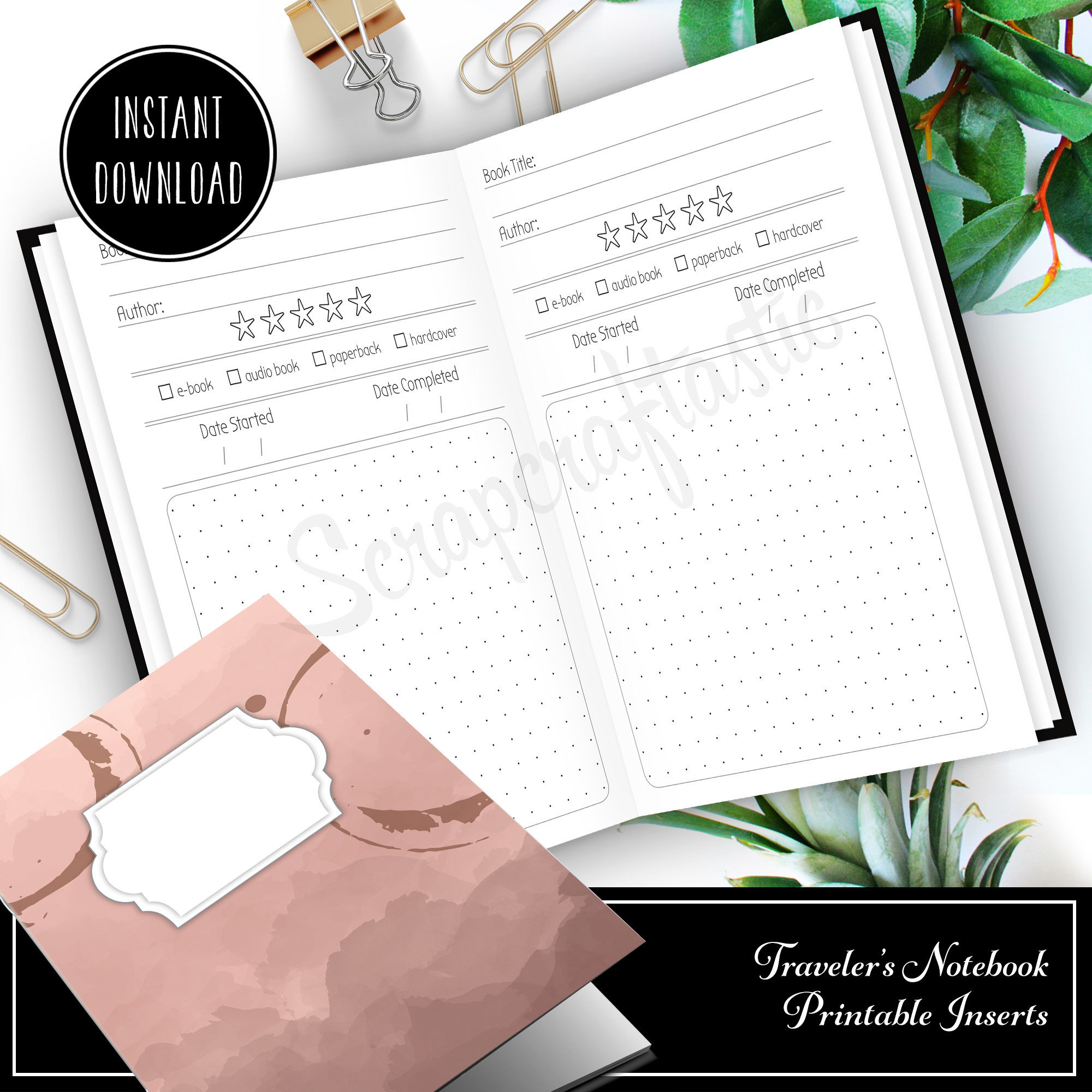 Book / Reading Log and Review Standard/Regular Traveler's Notebook Printable Insert 30012