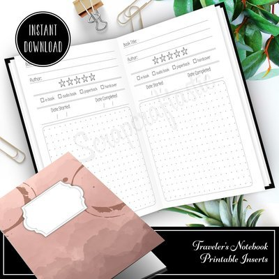 B6 TN - Book / Reading Log and Review B6 Traveler's Notebook Printable Insert