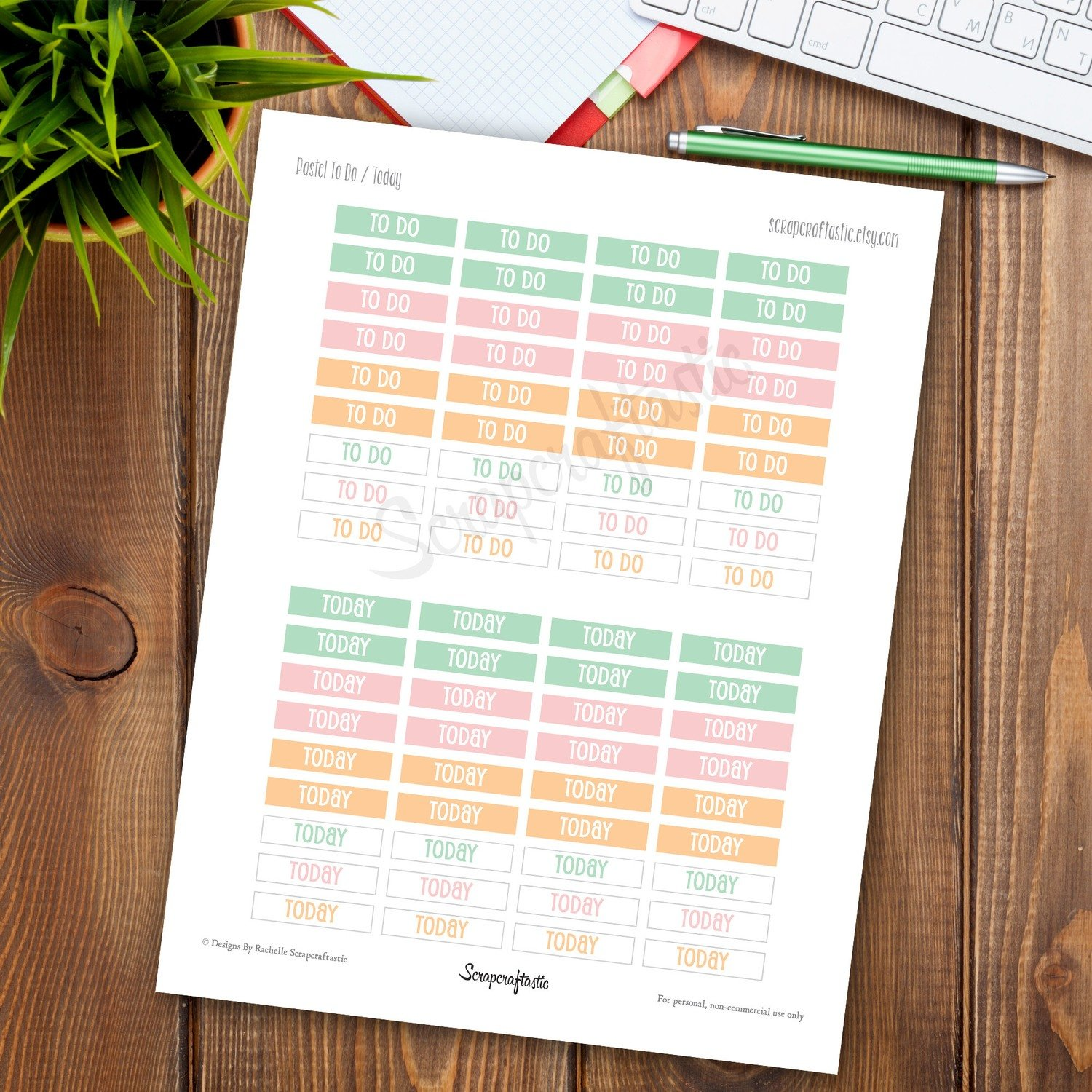 Pastel Pink, Peach, Mint To Do and Today Header Printable Planner Stickers for any Planner