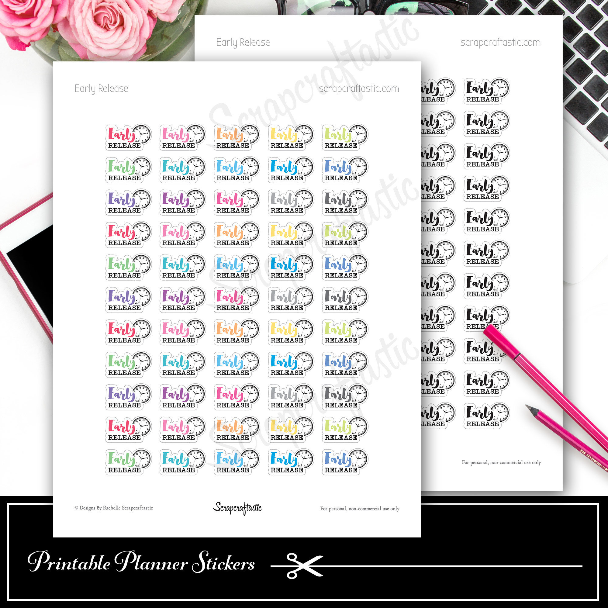 Early Release School Printable Planner Stickers for Decor Planning in Paper Planners, Traveler's Notebooks, A5 Planners, Personal Planners 03015