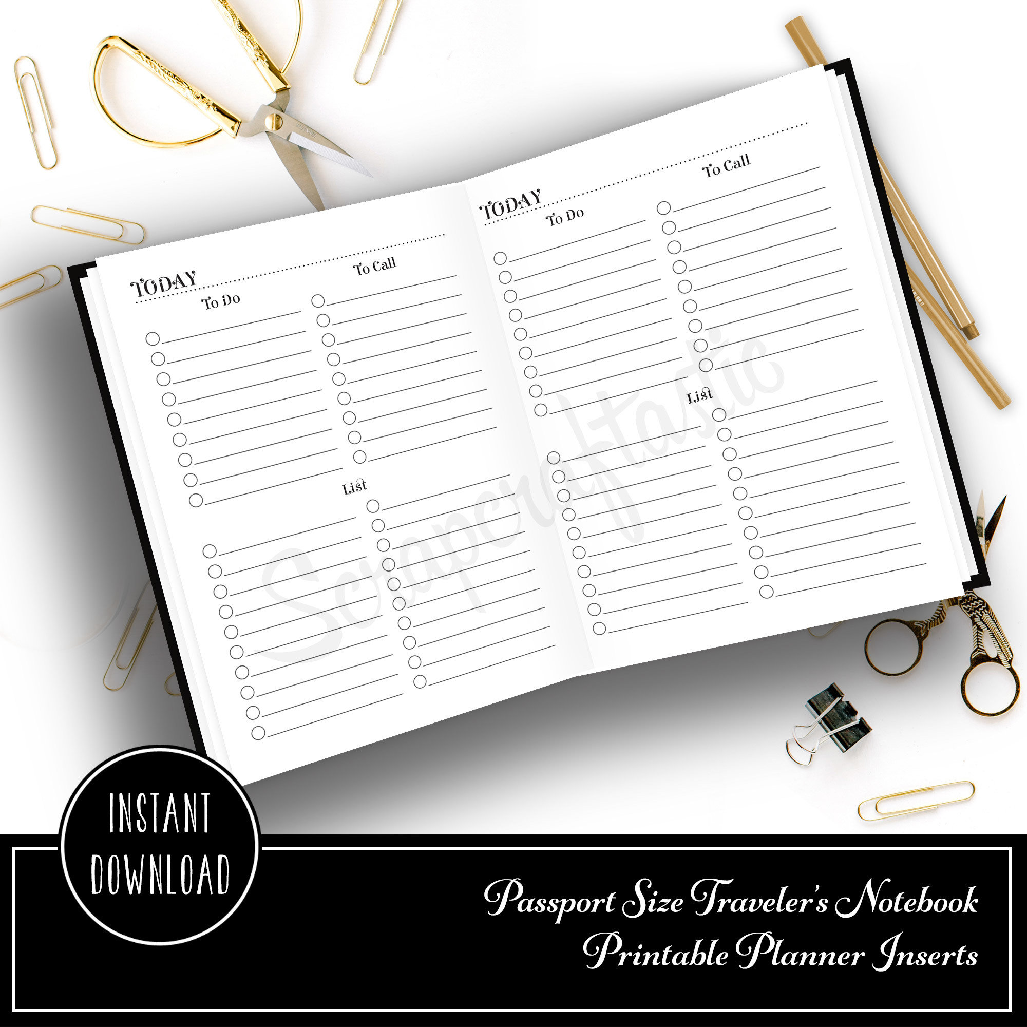 Multi List Passport Size Traveler's Notebook Printable Planner Inserts 90006