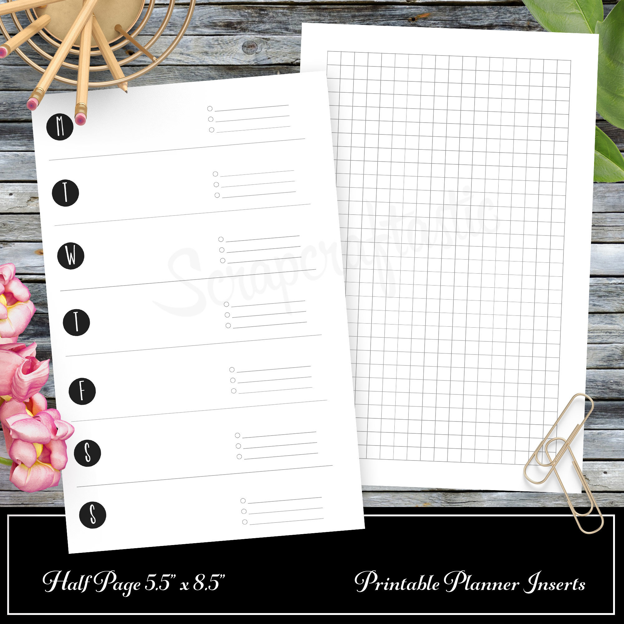 Week on One Page (WO1P) / Weekly Routine With Small Grid Printable Insert Refill Half Page (A5) Size - Filofax, Kikki K, ColorCrush 00302