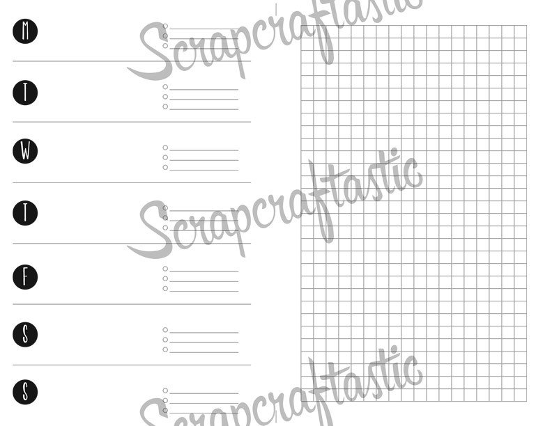 Week on One Page (WO1P) / Weekly Routine With Small Grid Printable Insert Refill Half Page (A5) Size - Filofax, Kikki K, ColorCrush