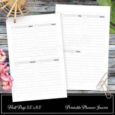 Basic Undated Week on Two Page (WO2P) and Month on Two Pages (MO2P) Half Page Printable Planner Inserts