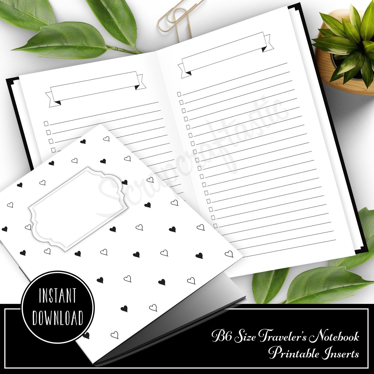 Banner Header and Check List Planner Printable Insert Refill for B6 Traveler's Notebook