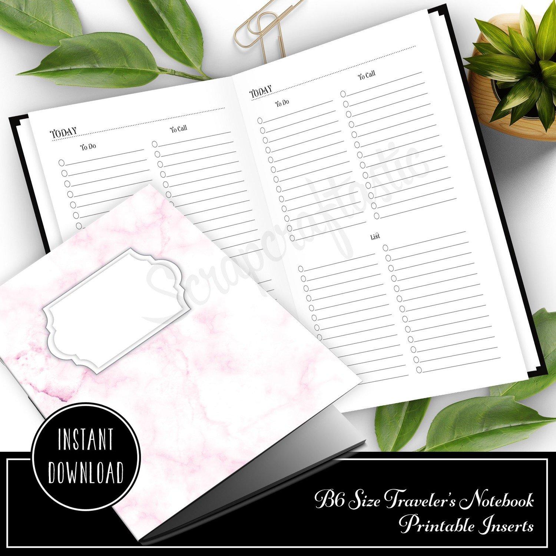 Multi List B6 Size Traveler's Notebook Printable Planner Inserts