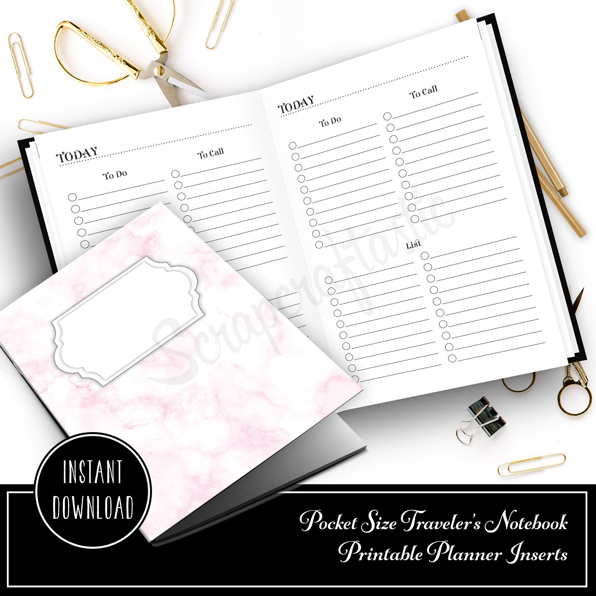Multi List Pocket Size Traveler's Notebook Printable Planner Inserts 10016
