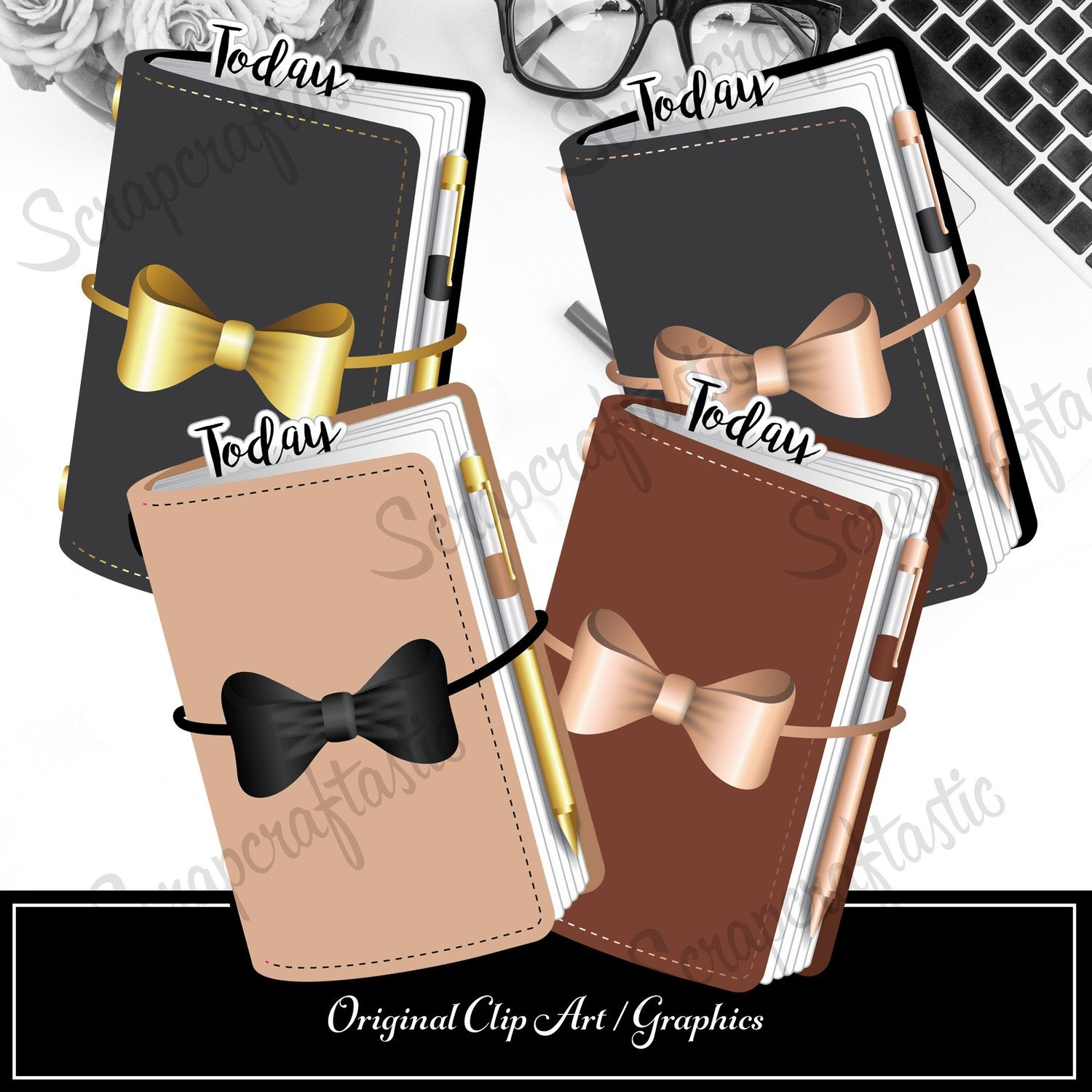 4 Traveler's Notebook Custom Illustration / Clip Art / Graphics