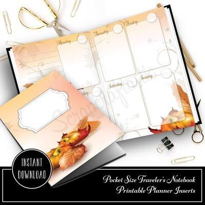Fall Designed Pocket Size Printable Traveler's Notebook Insert