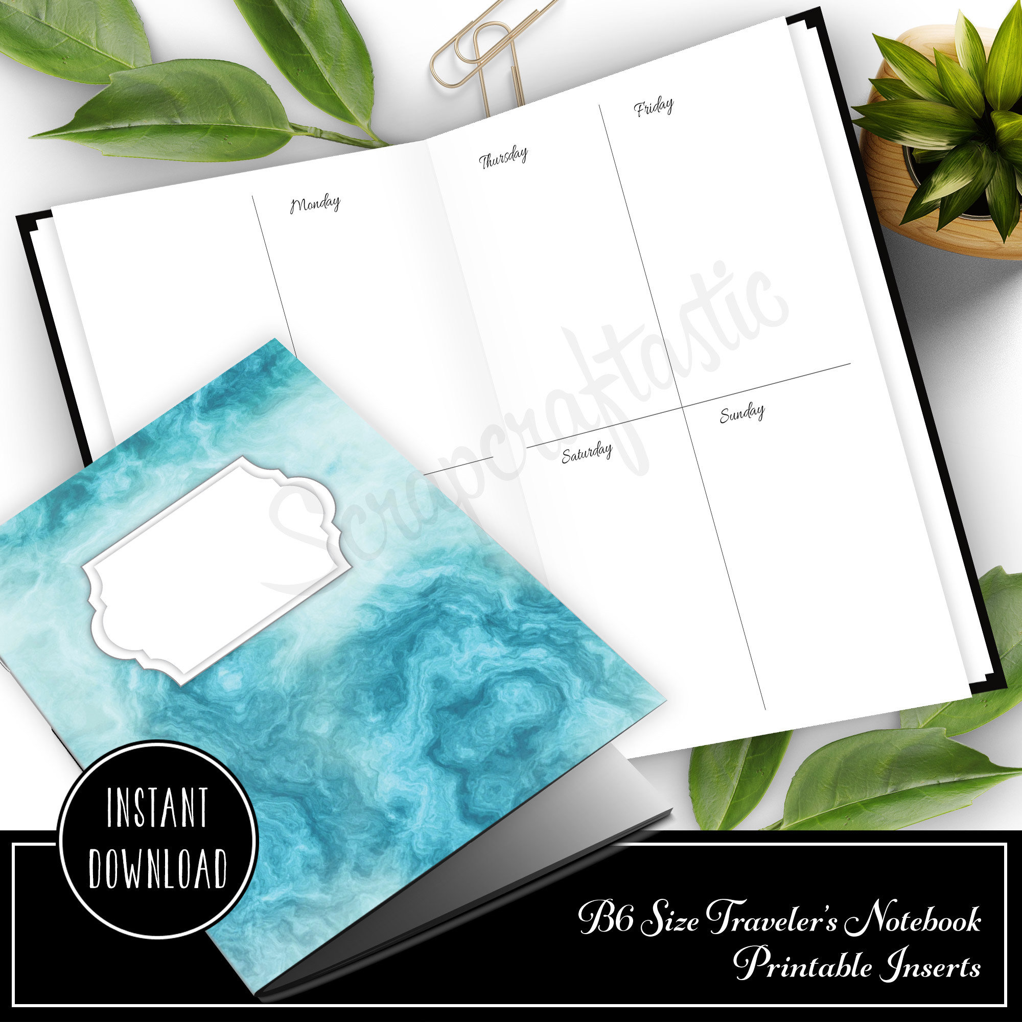 Basic Week On Two Pages (WO2P)  B6 Size Traveler's Notebook Printable Planner Inserts 50018