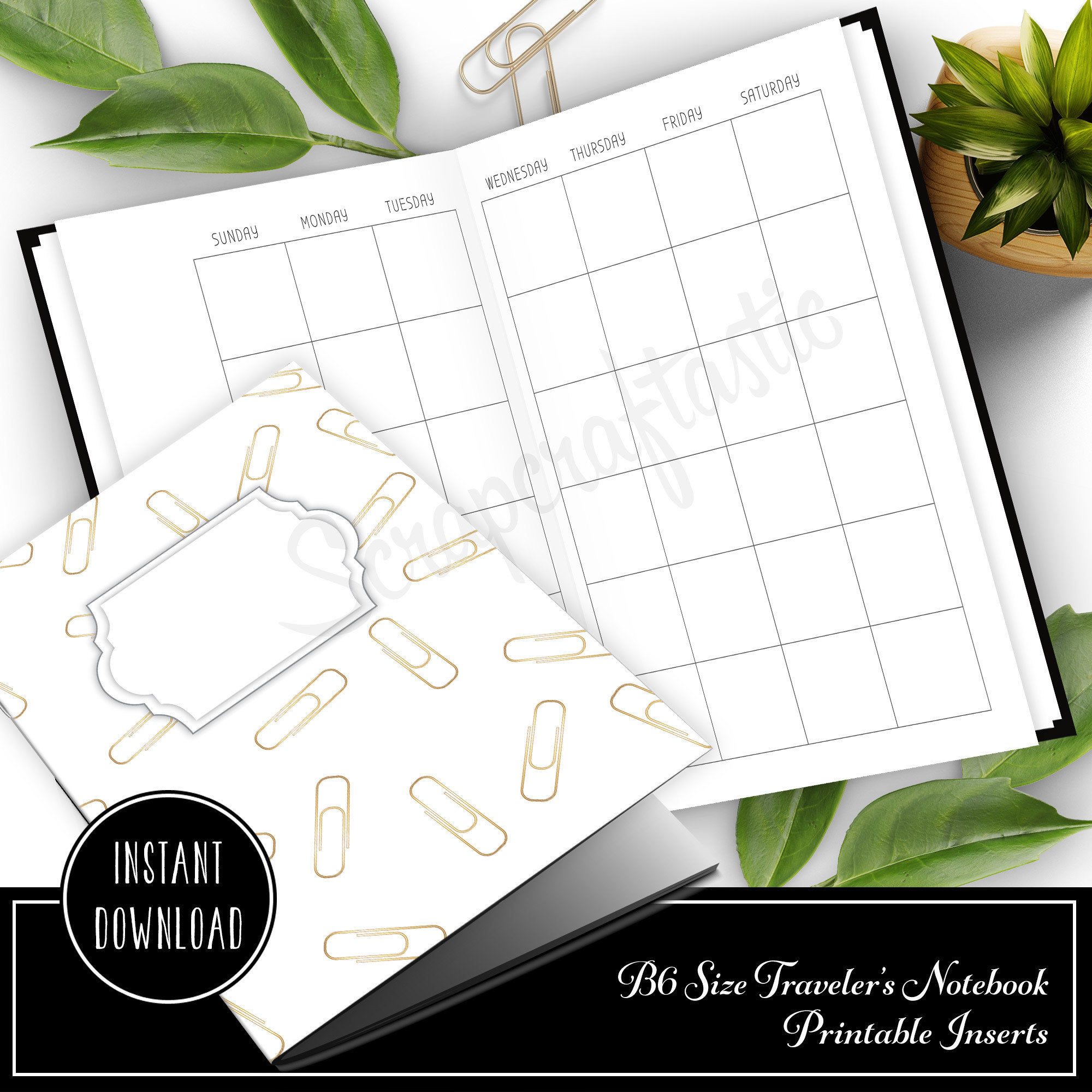 Month On Two Pages (MO2P) Undated B6 Size Traveler's Notebook Printable Planner Inserts 50019