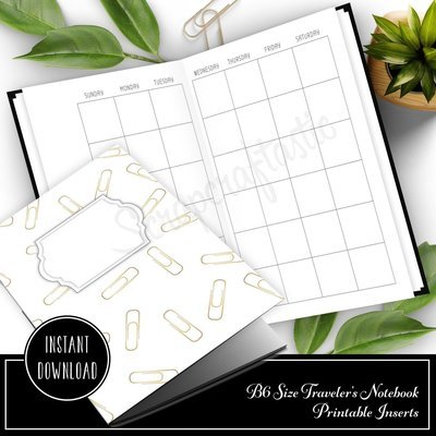 Month On Two Pages (MO2P) Undated B6 Size Traveler's Notebook Printable Planner Inserts