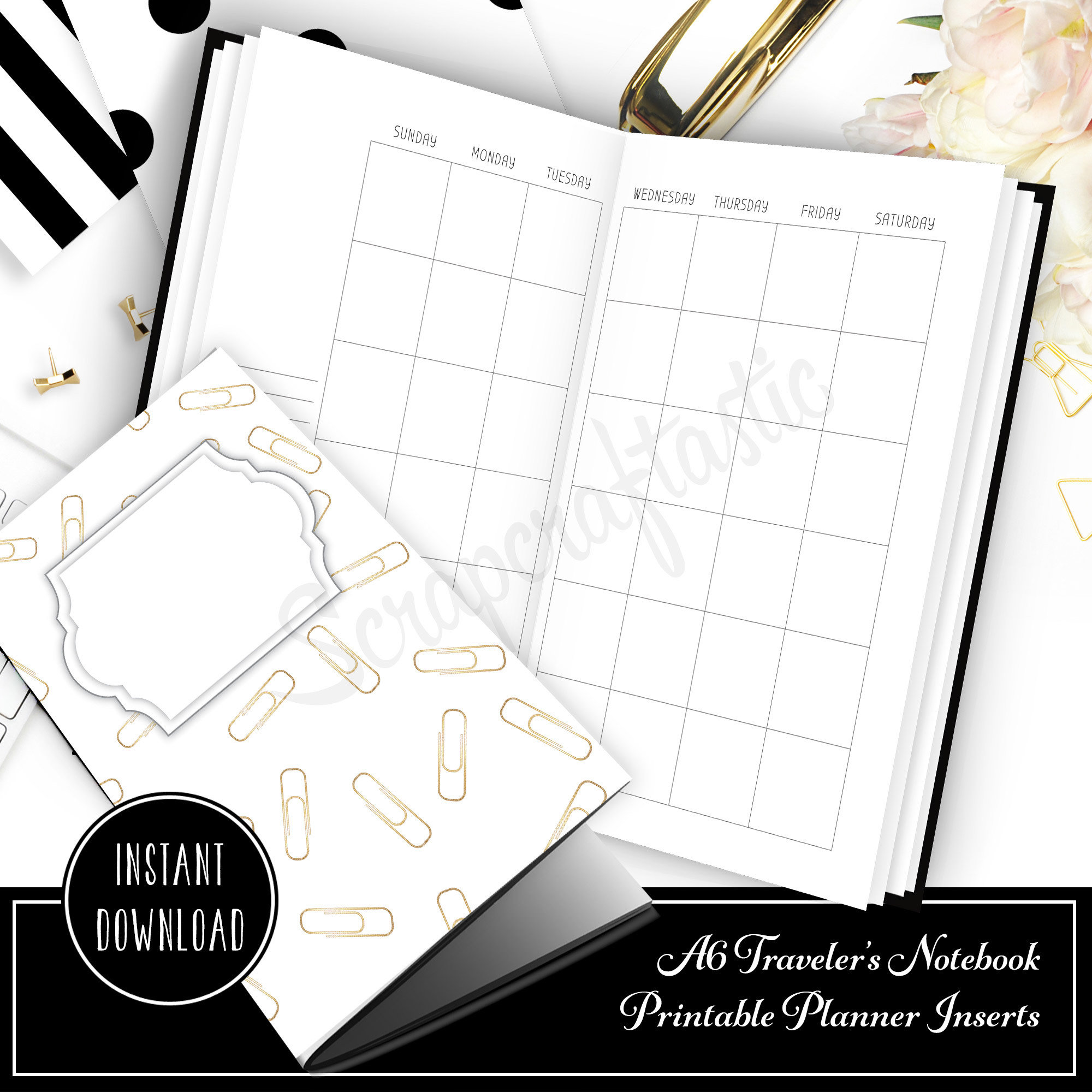 Month On Two Pages (MO2P) Undated A6 Size Traveler's Notebook Printable Planner Inserts 40006