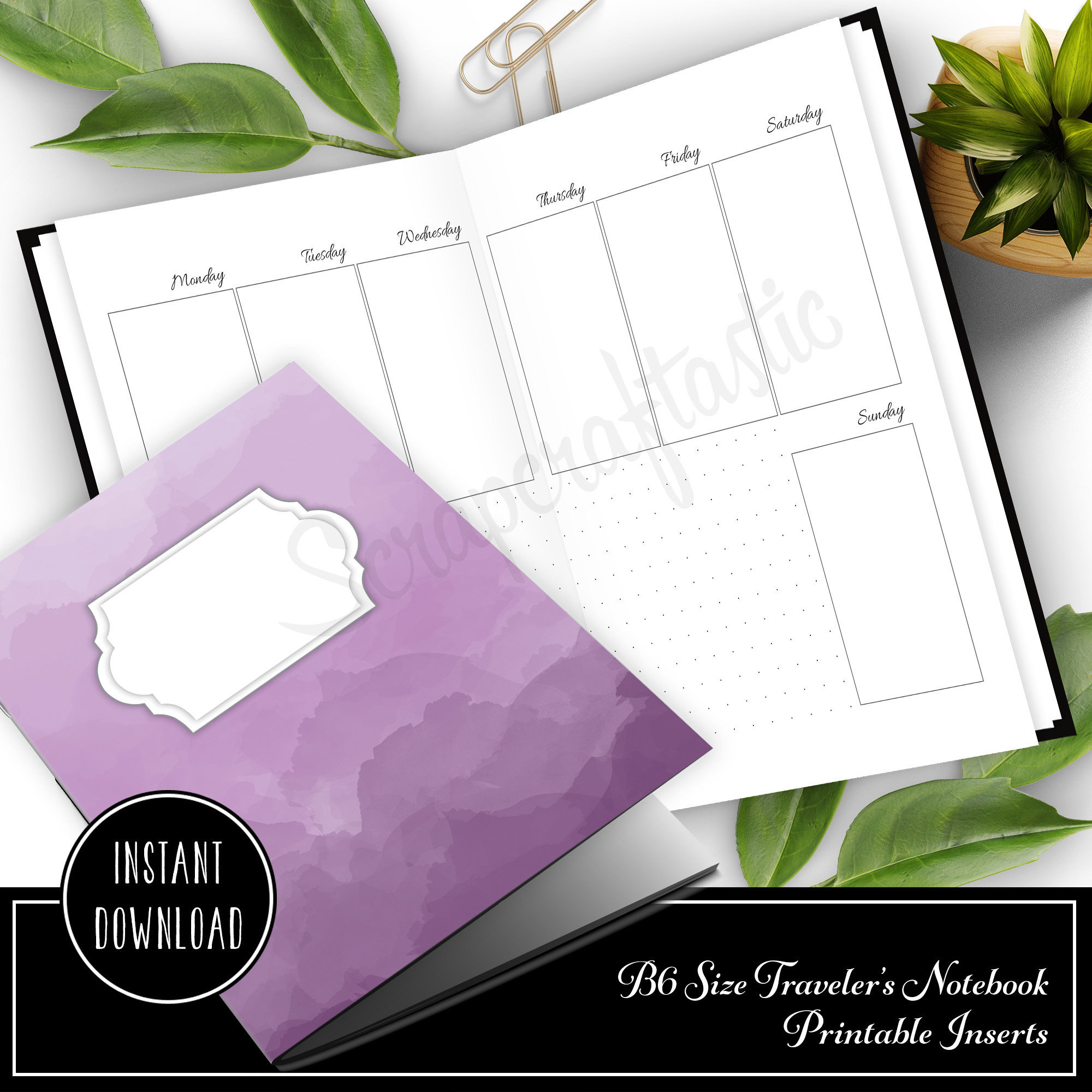 Week 33 -  Week On Two Pages (WO2P)  B6 Size Traveler's Notebook Printable Planner Inserts 50020