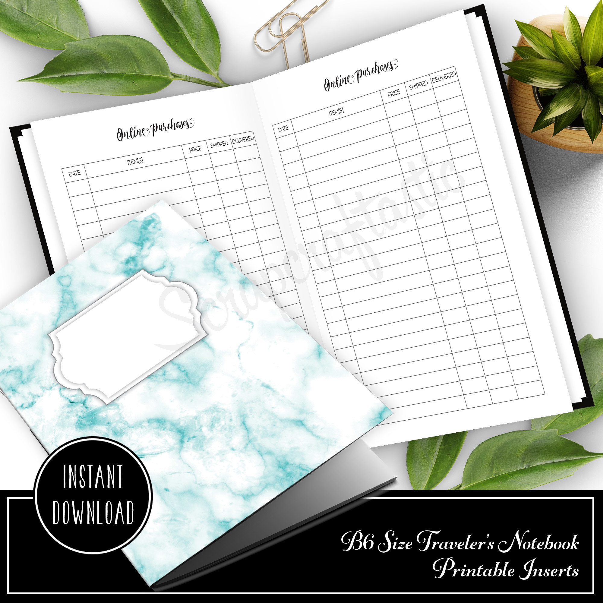 Online Purchase / Order Tracker B6 Traveler's Notebook Printable Insert 50021