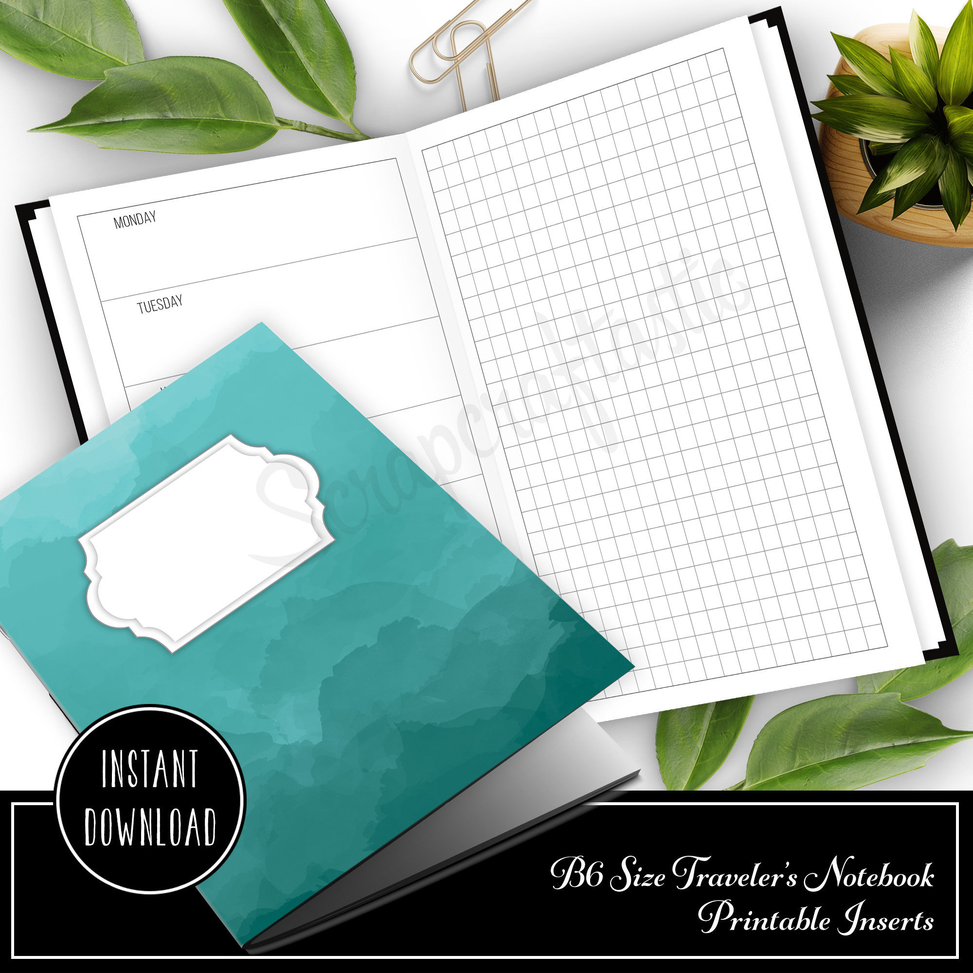 Horizontal Week on One Page with Grid B6 Size Traveler's Notebook Printable Planner Inserts 50023