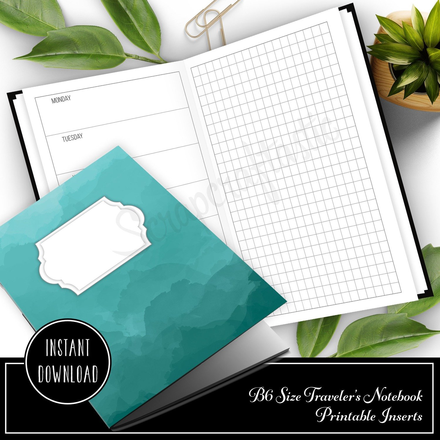 Horizontal Week on One Page with Grid B6 Size Traveler's Notebook Printable Planner Inserts