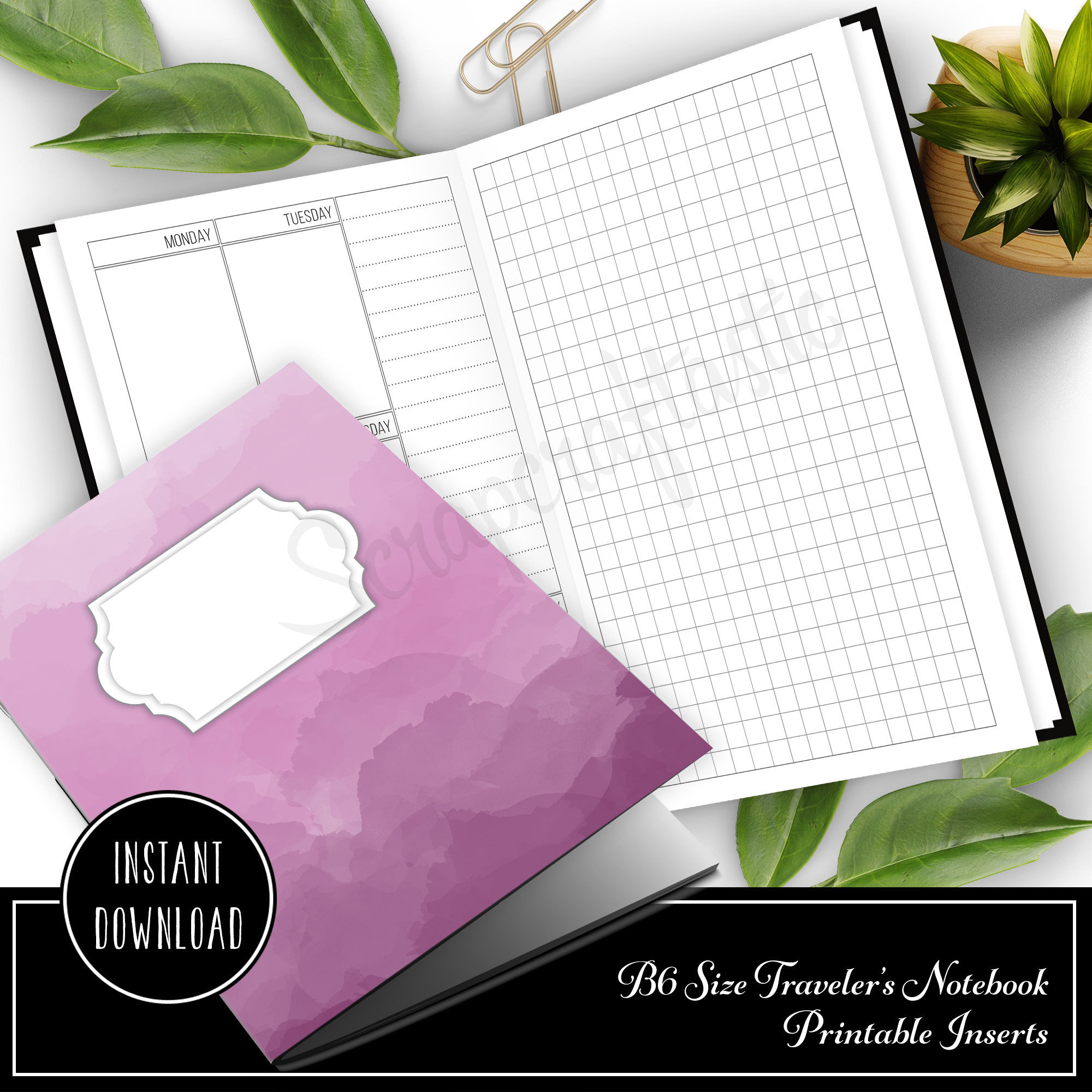 Vertical Week on One Page B6 Size Traveler's Notebook Printable Planner Inserts 50022