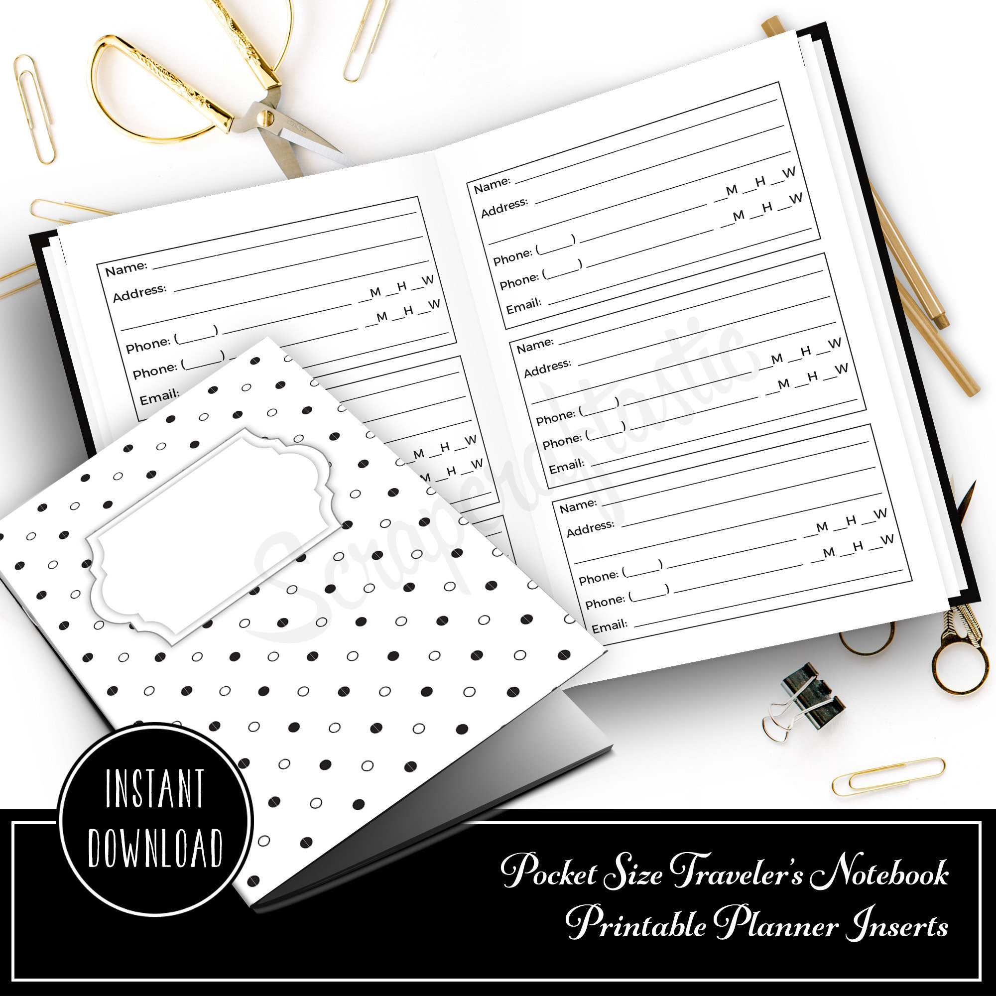 Address and Phone Log Pocket Size Traveler's Notebook Printable Planner Inserts 10019