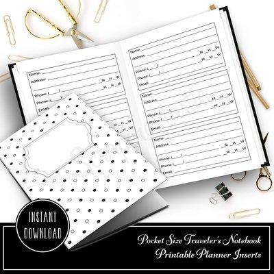 Address and Phone Log Pocket Size Traveler's Notebook Printable Planner Inserts