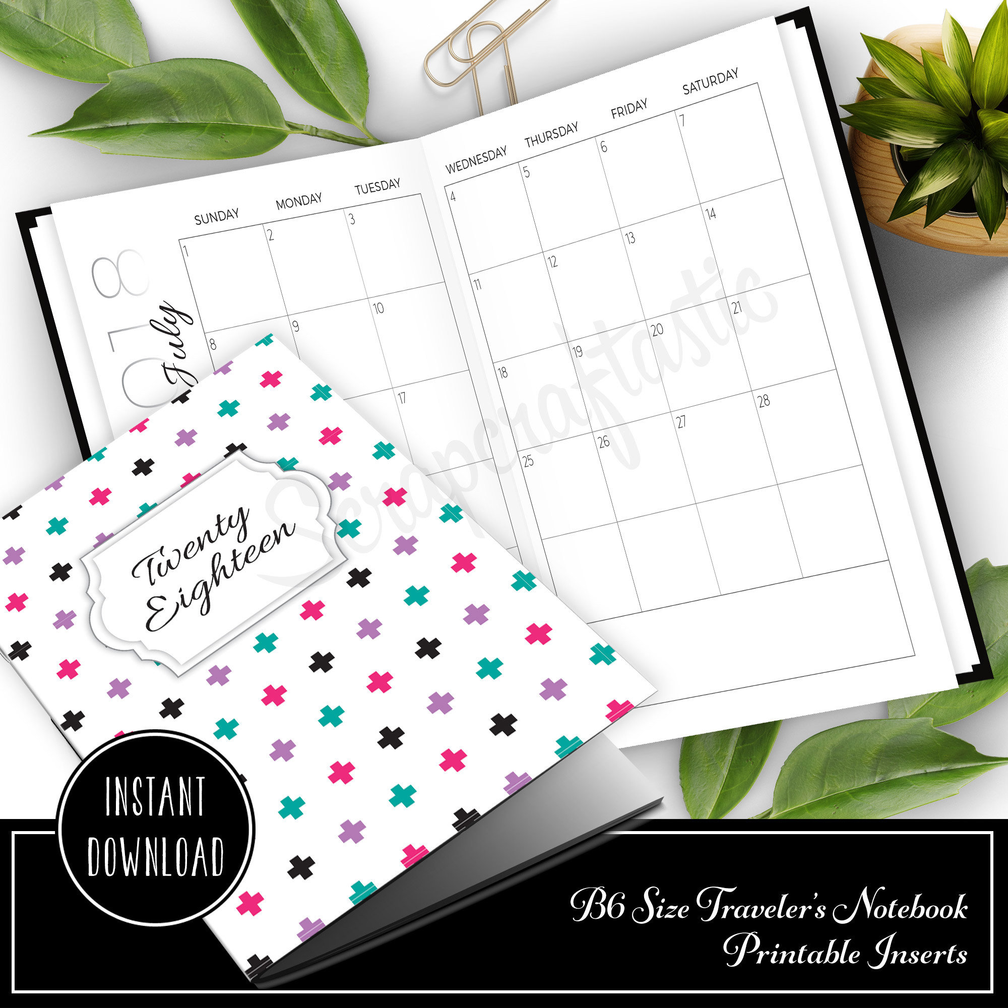 Full Notebook Dated: 2018 Monthly B6 Printable Traveler's Notebook Insert 50024