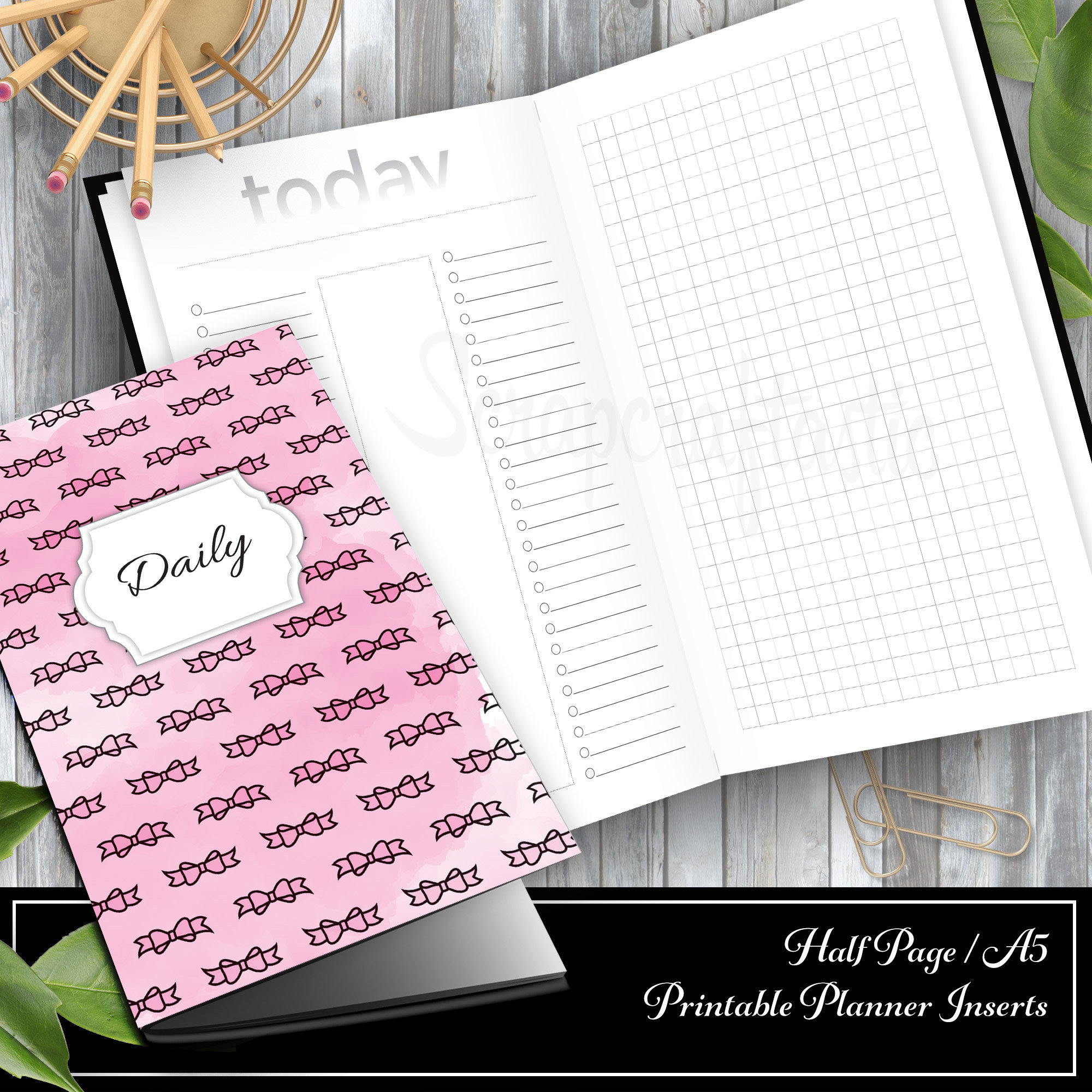 Daily Lists, Column and Grid A5/Half Page Traveler's Notebook Printable Inserts 00317